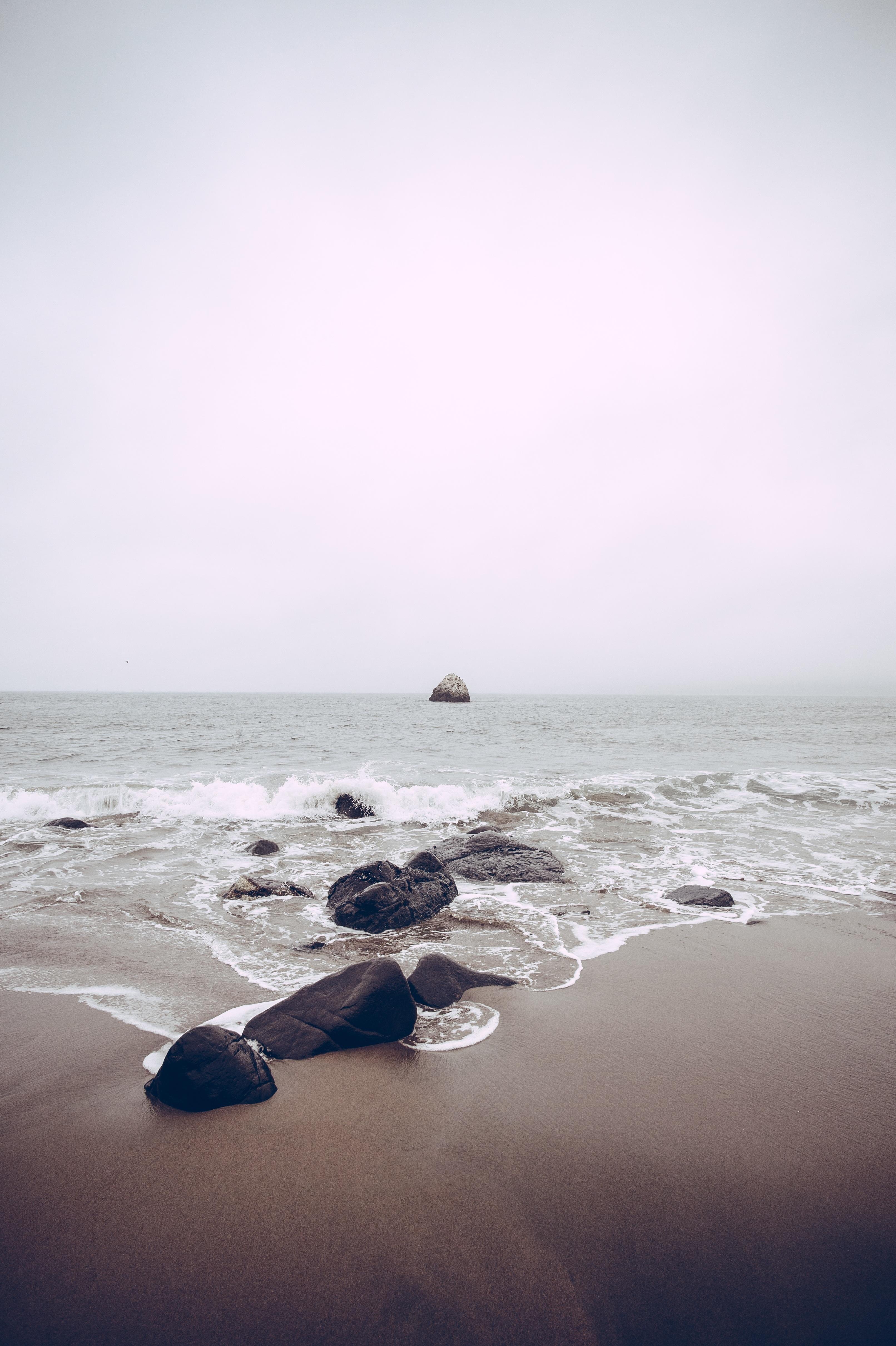 Water Every Where, Blue, Rock, Sea, Splash, HQ Photo