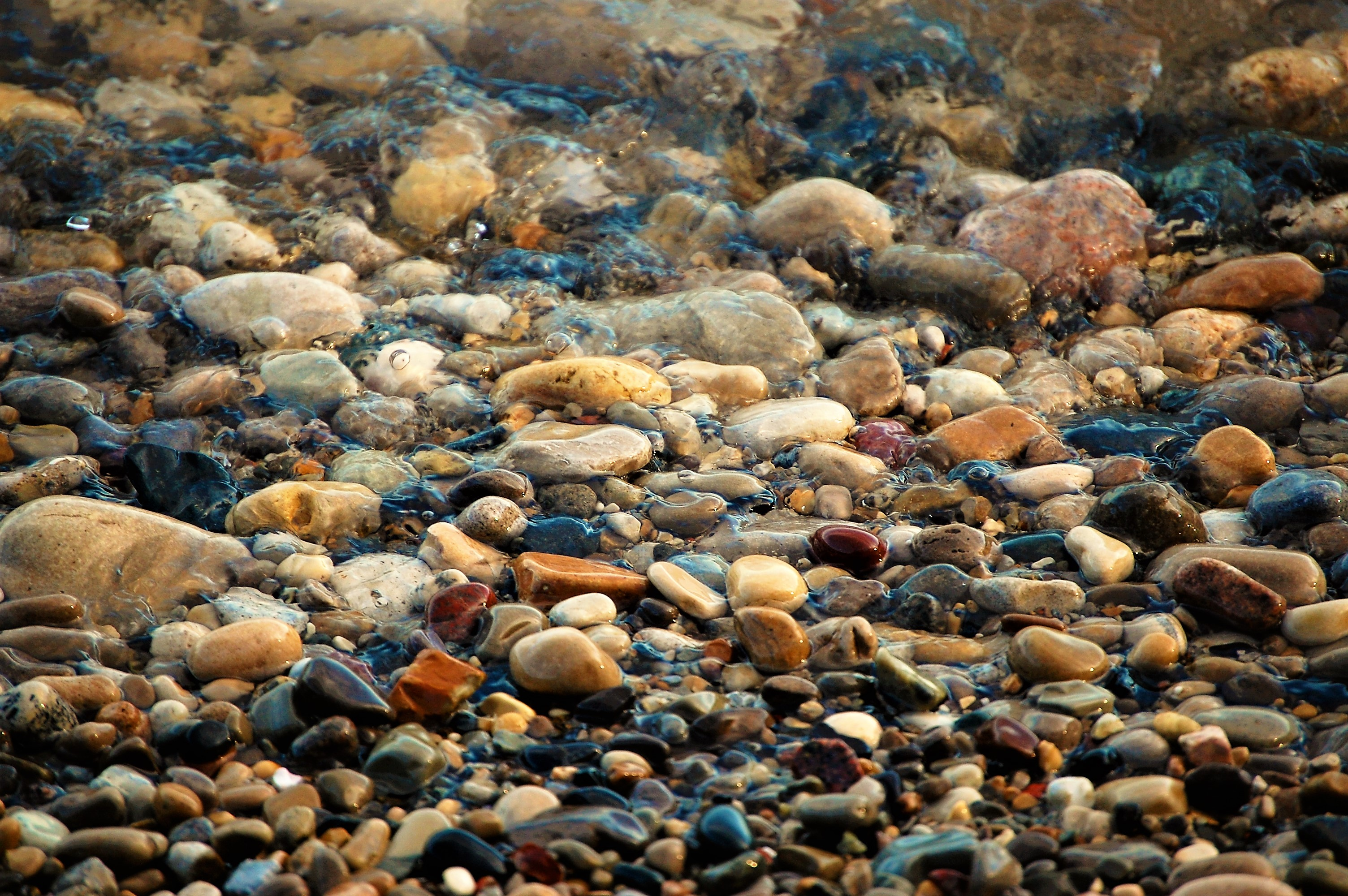 Water on the Rocks, Blue, Brook, Brown, Colorful, HQ Photo