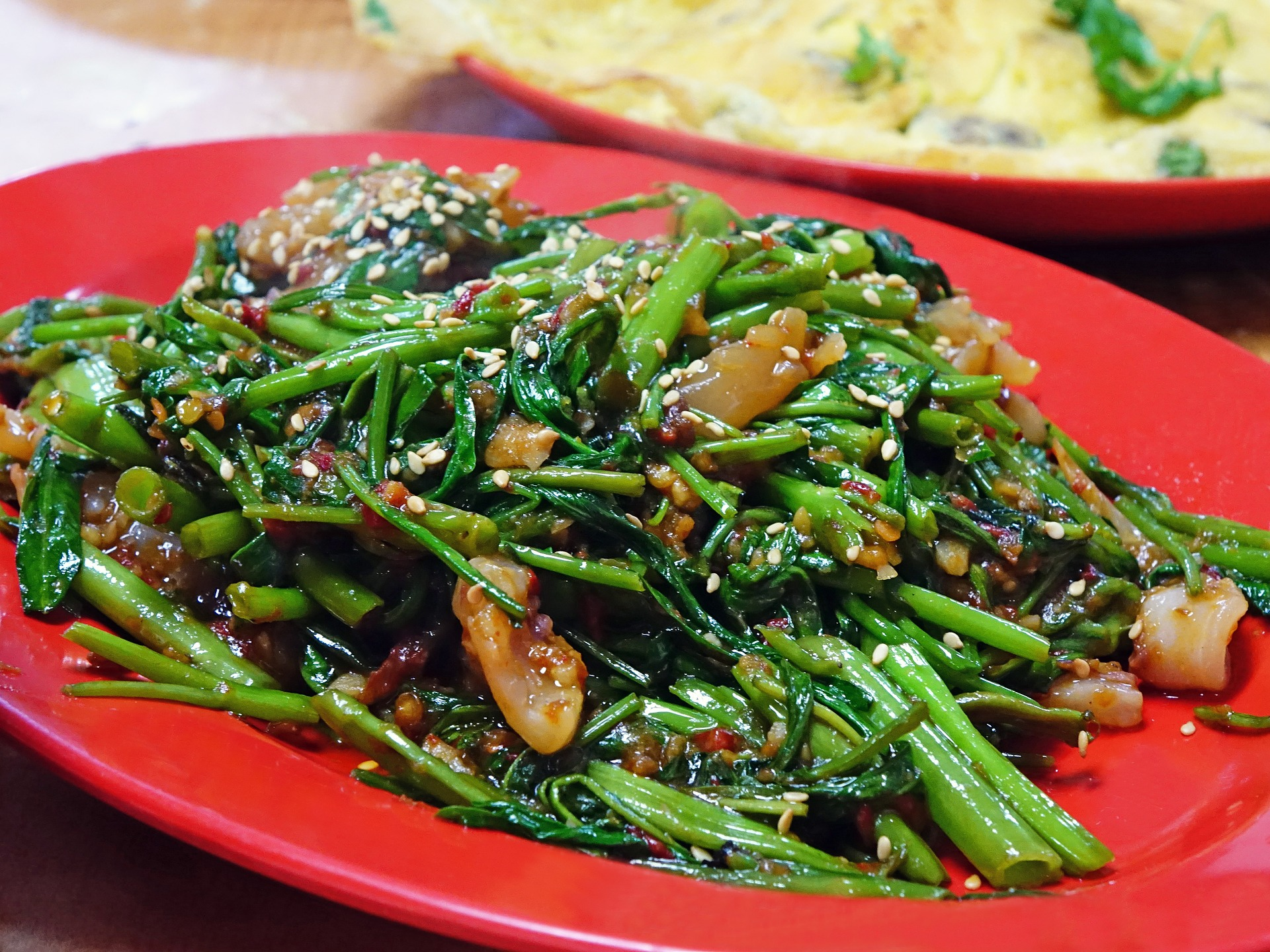 Water Spinach, Dish, Food, Fresh, Restaurant, HQ Photo