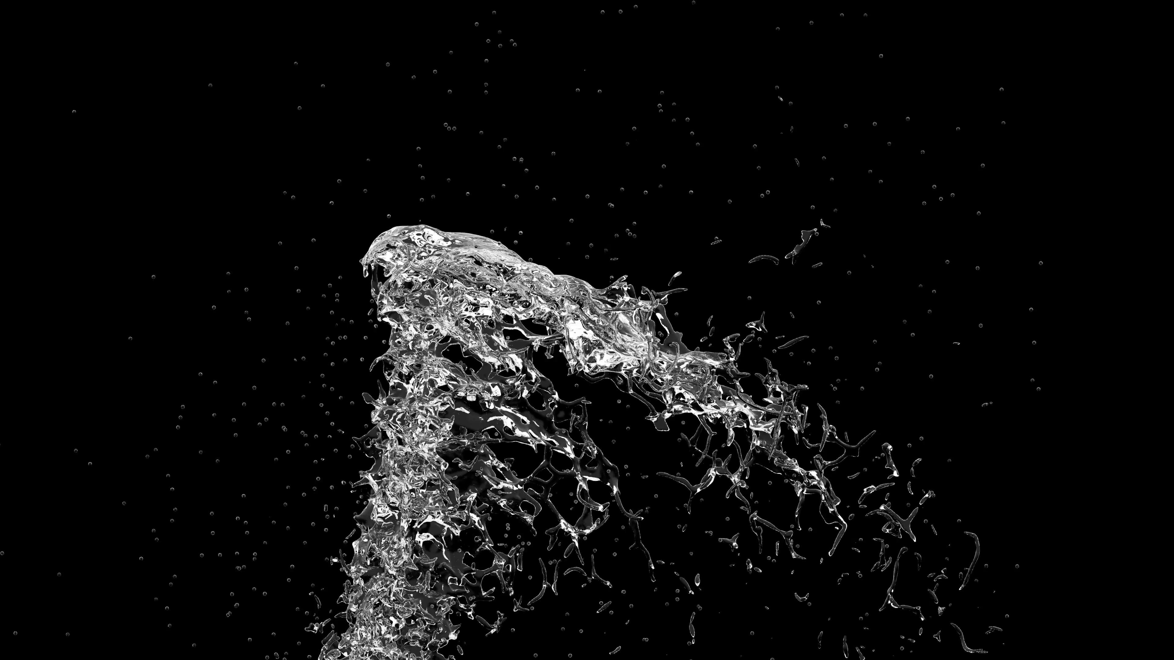 4K Slow Motion Big Water Splash Fountain With Alpha Matte Stock ...