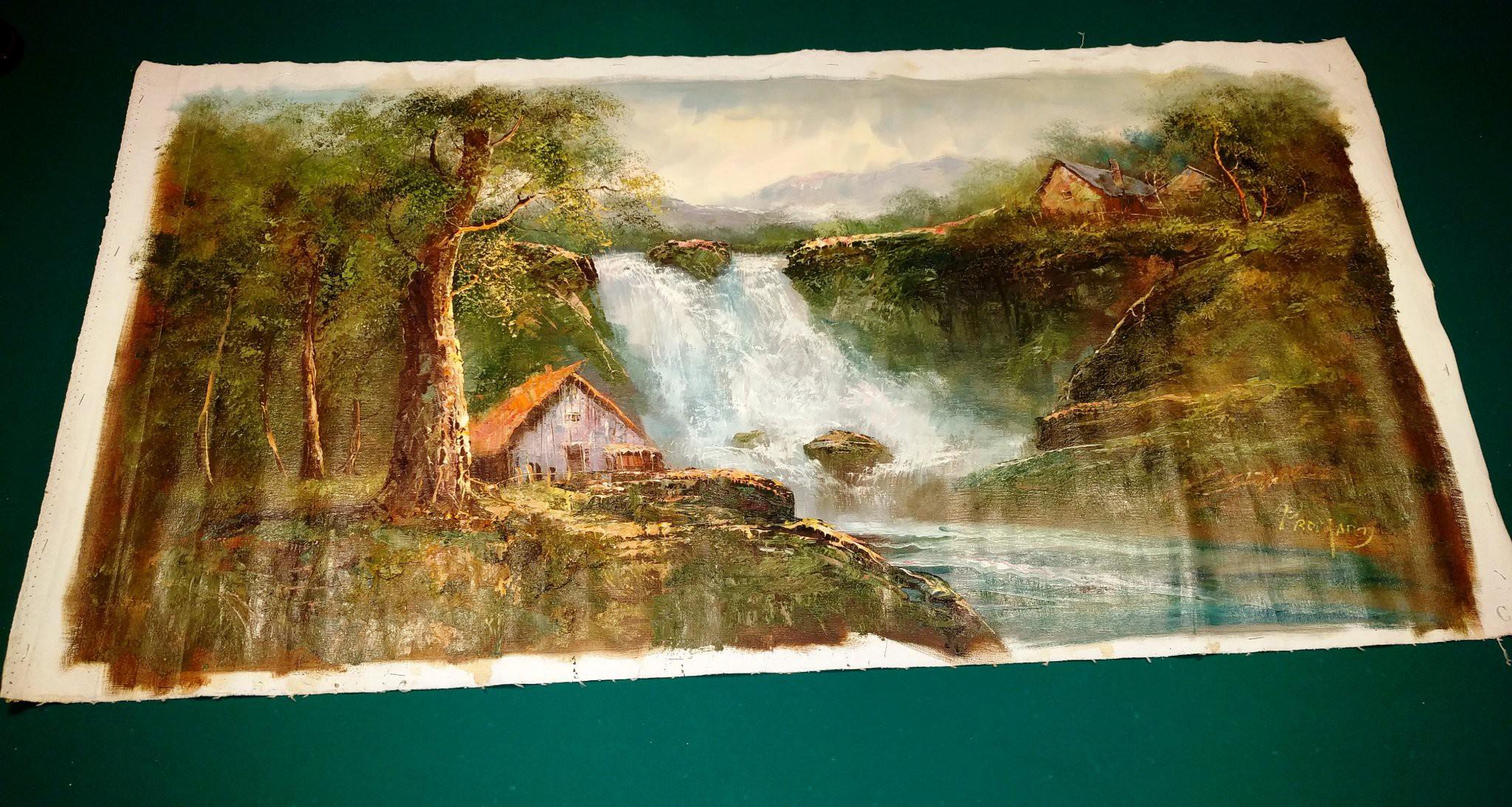 Impressive original signage landscape painting, impressive oil ...