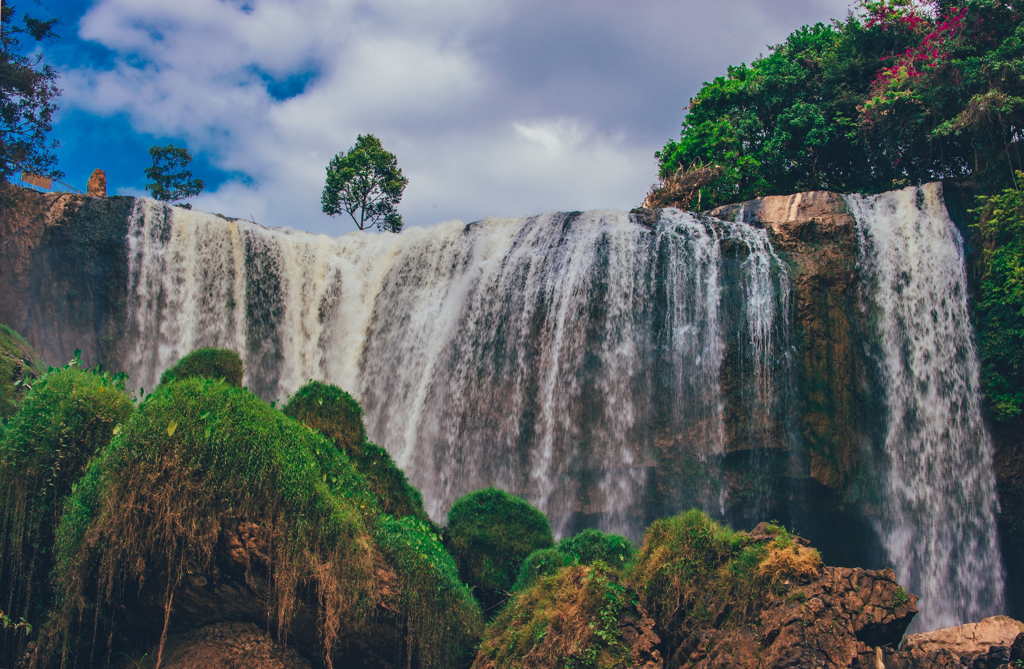 Waterfalls, Clouds, Park, Water, Trees, HQ Photo