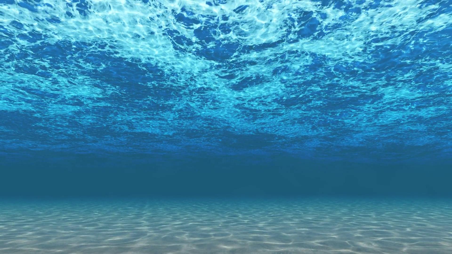 Digitally generated simple underwater background. Blue wavy water ...
