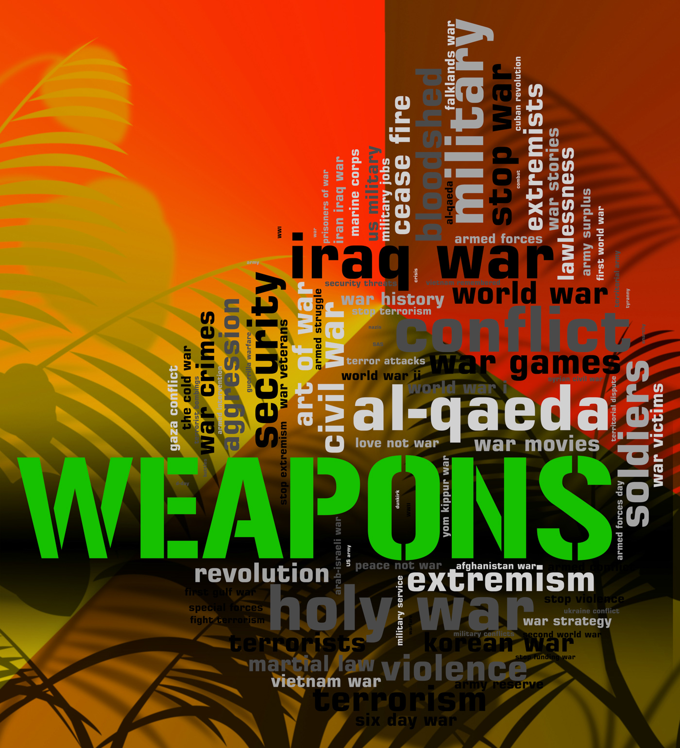 Weapons  and war wordcloud photo