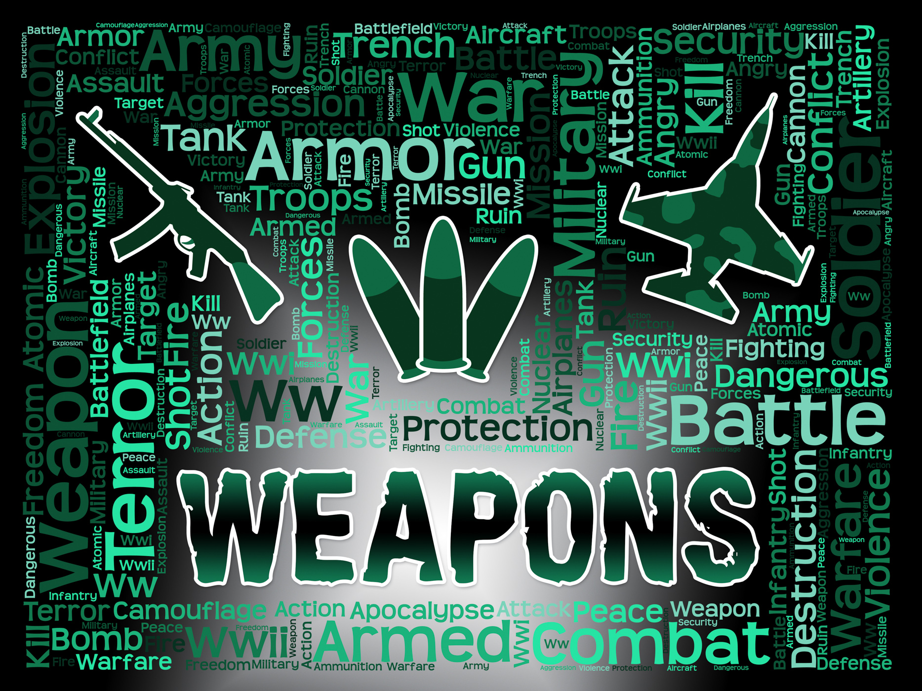 Weapons words means armed firepower and armoury photo