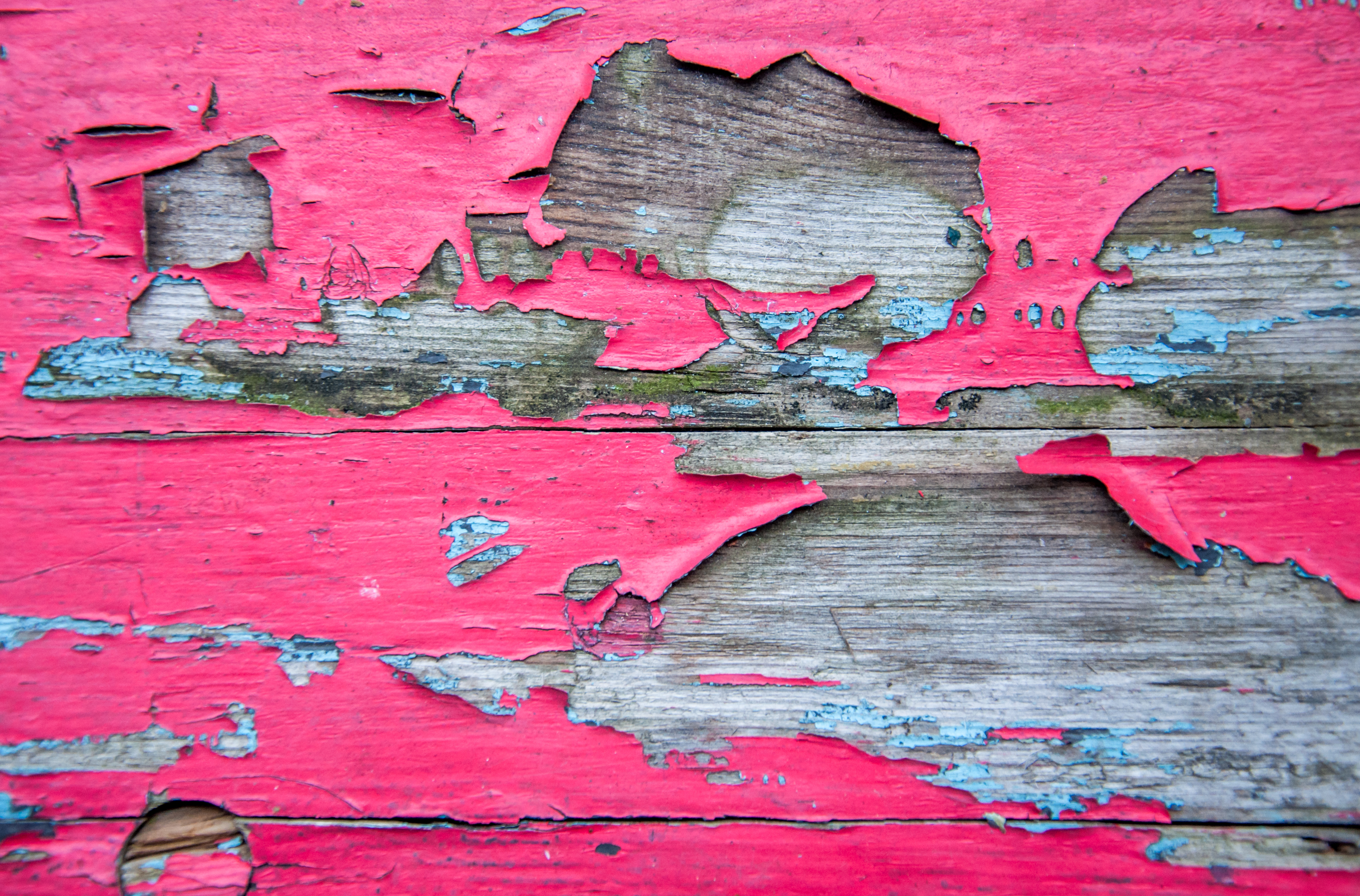 Weathered and peeling paint on wood photo