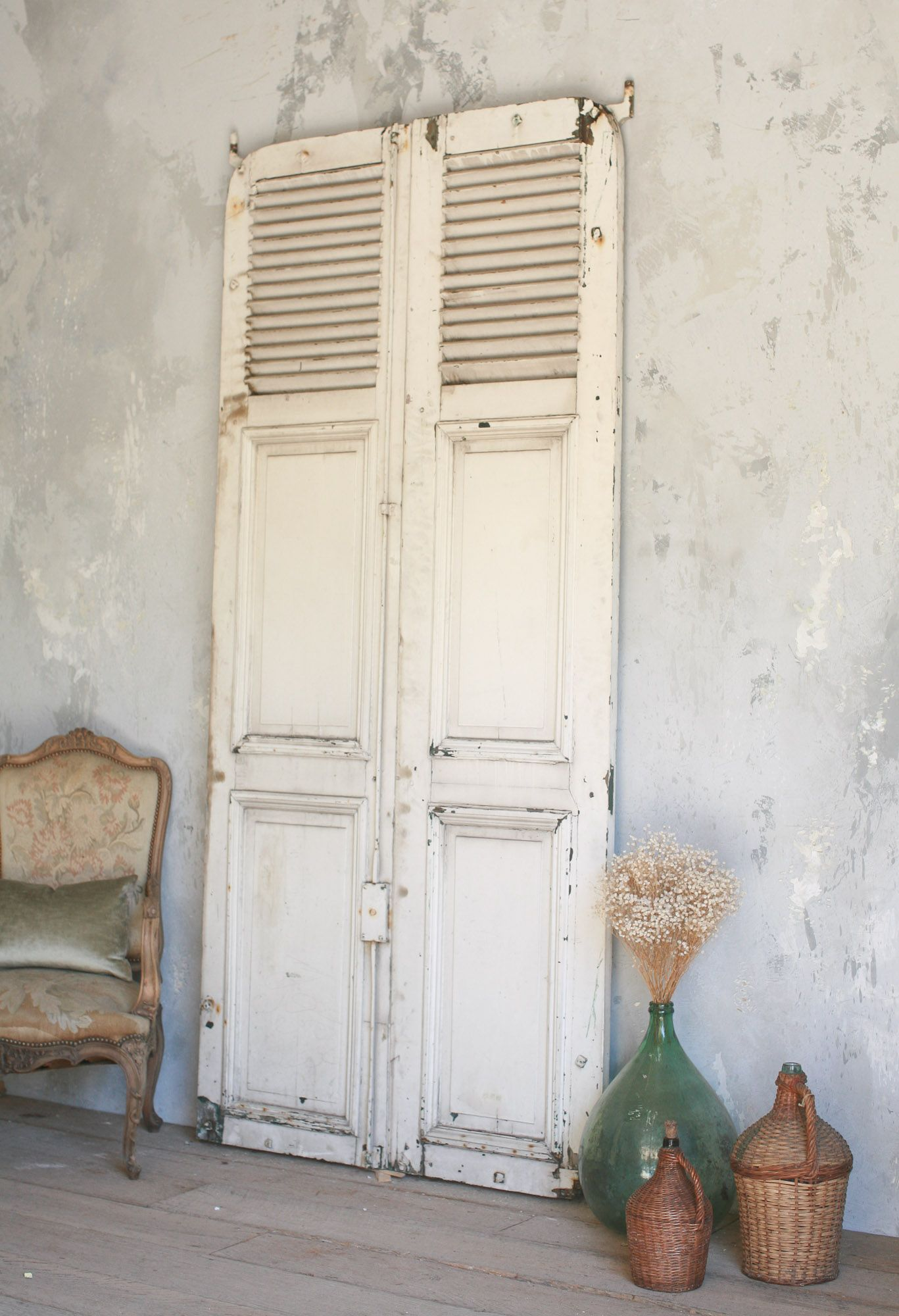 lovely old white weathered vintage door with French feel | Cottage ...