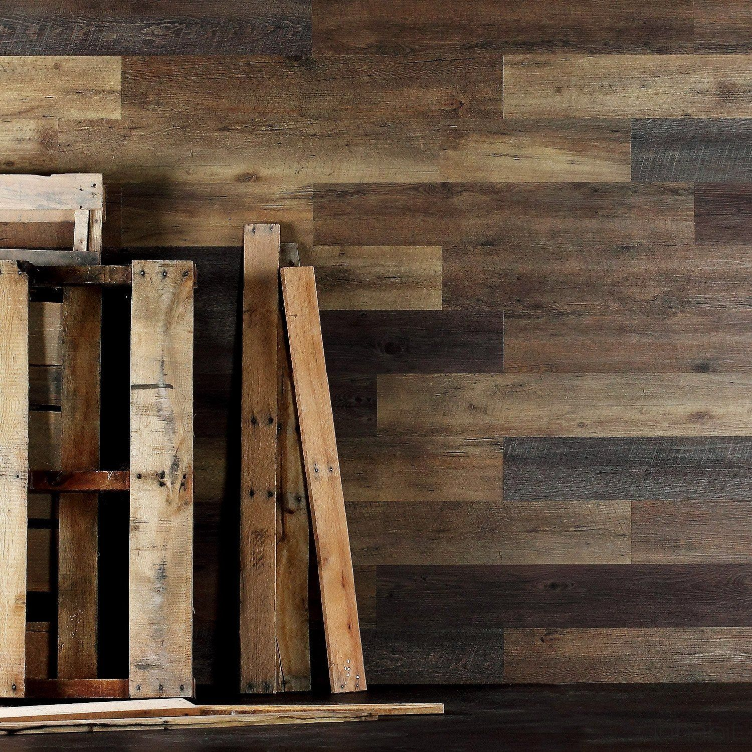 Pallet Wood Look Peel and Stick Wall Planks | Wide plank, Wood walls ...