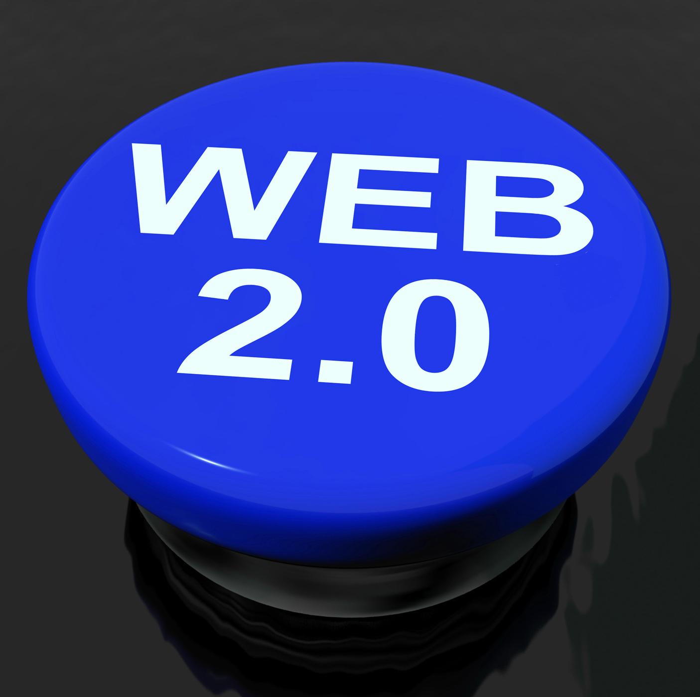 Web 20 button means dynamic user www photo