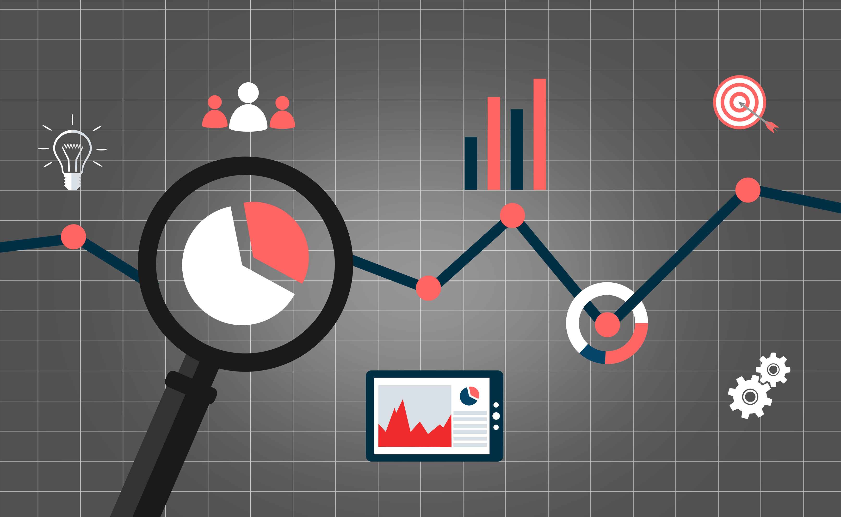 Web analytics concept with data icons photo