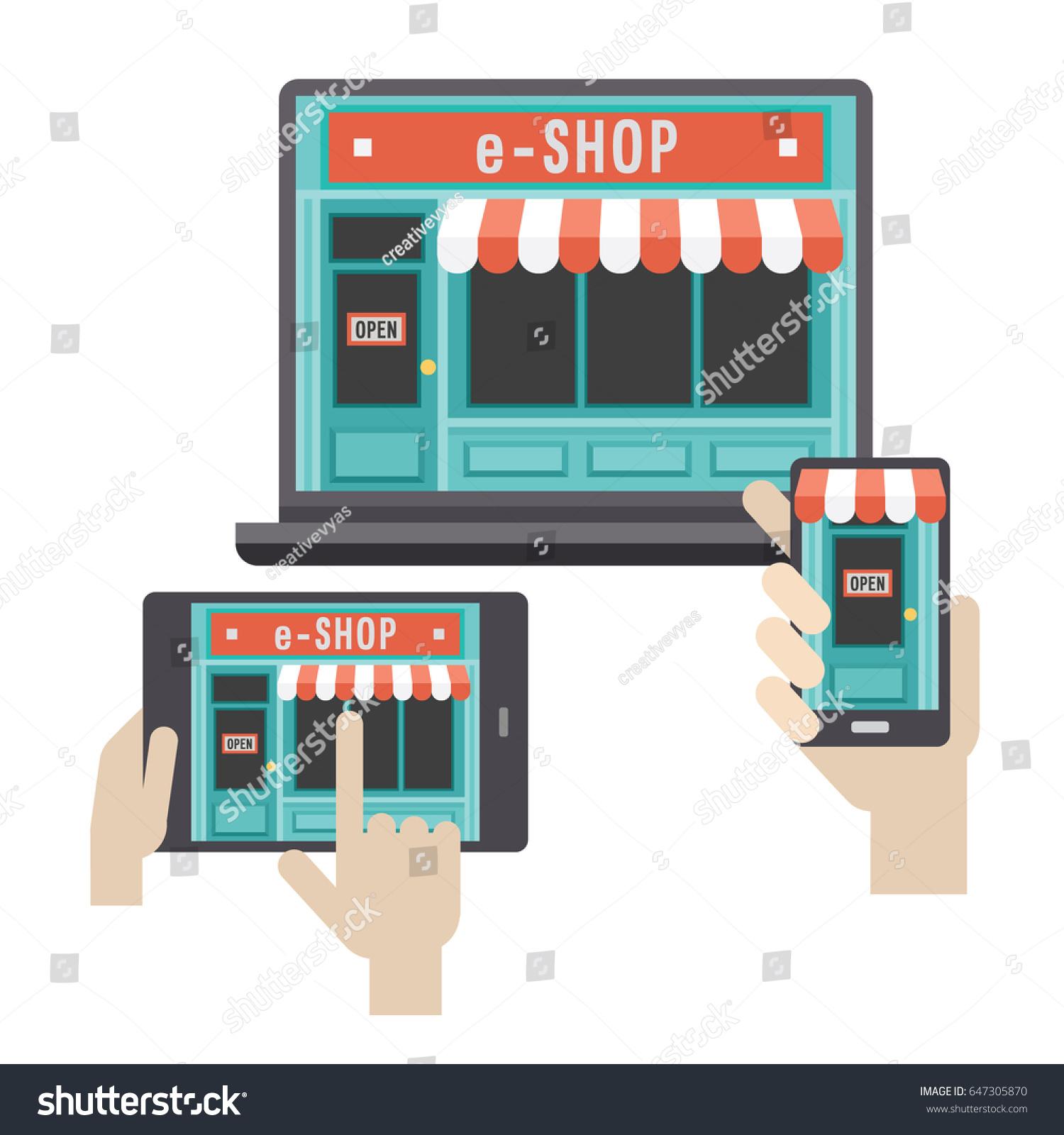 Ecommerce Online Shop Web Site Landing Stock Vector 647305870 ...