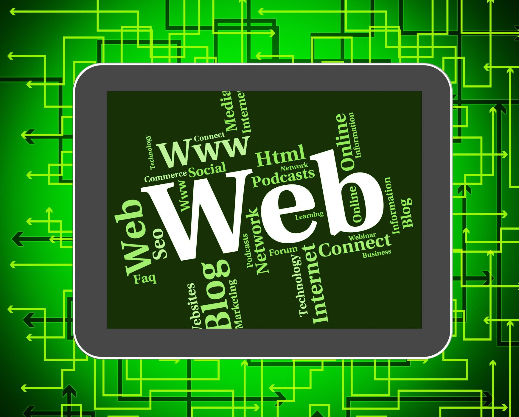Web word represents online internet and net photo