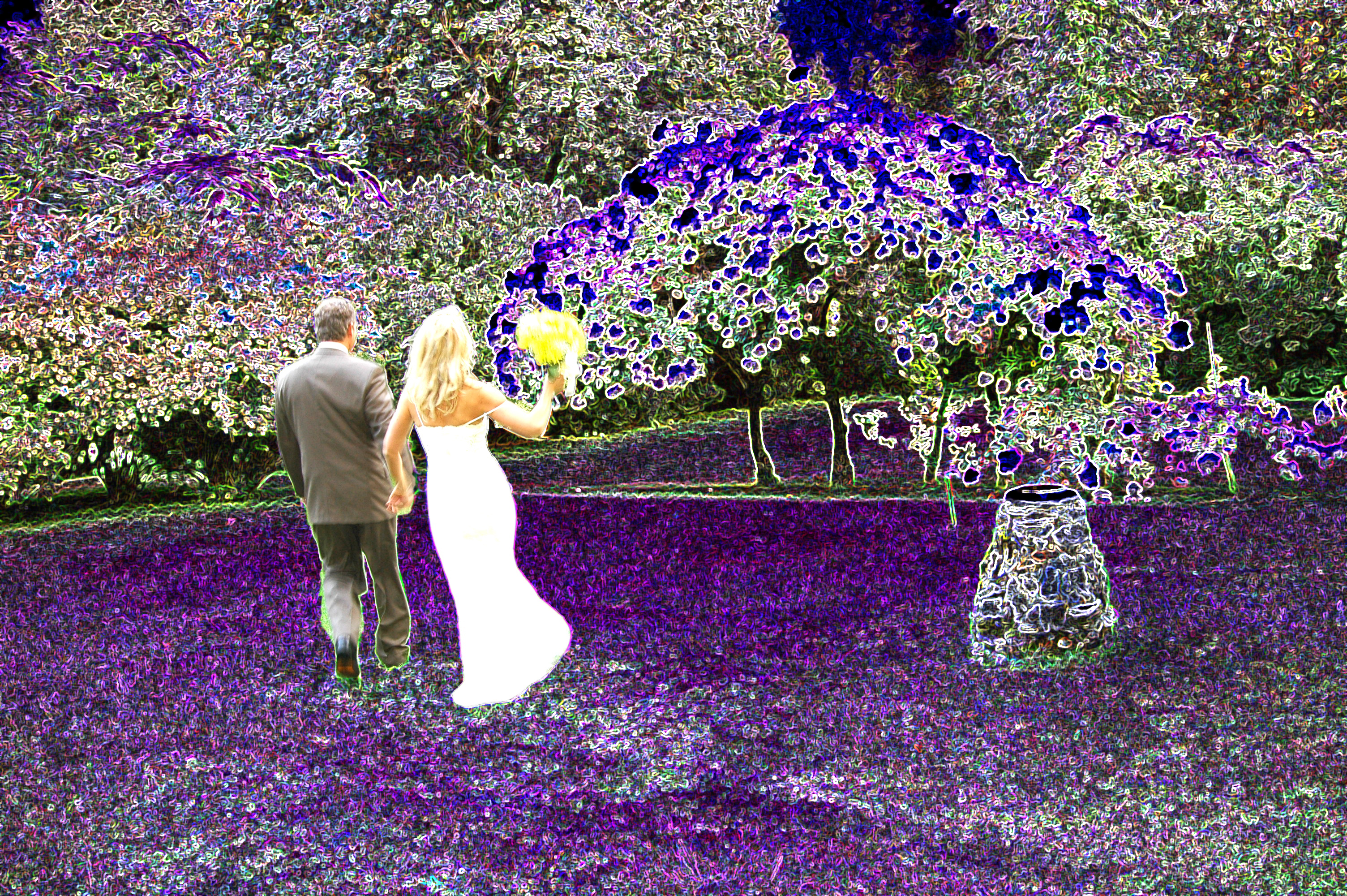 Wedding couple just married abstract photo