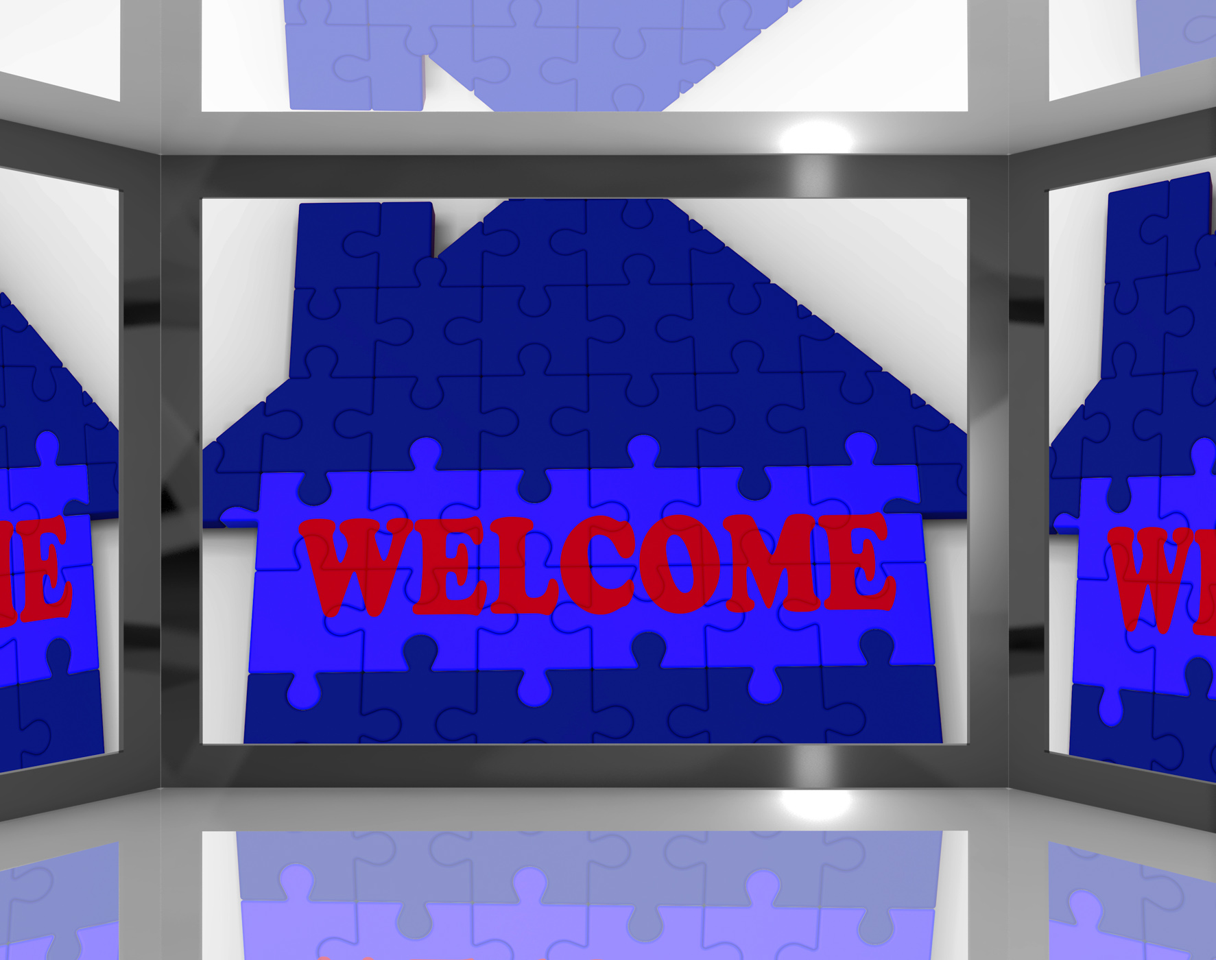 Welcome house on screen showing welcoming guests photo