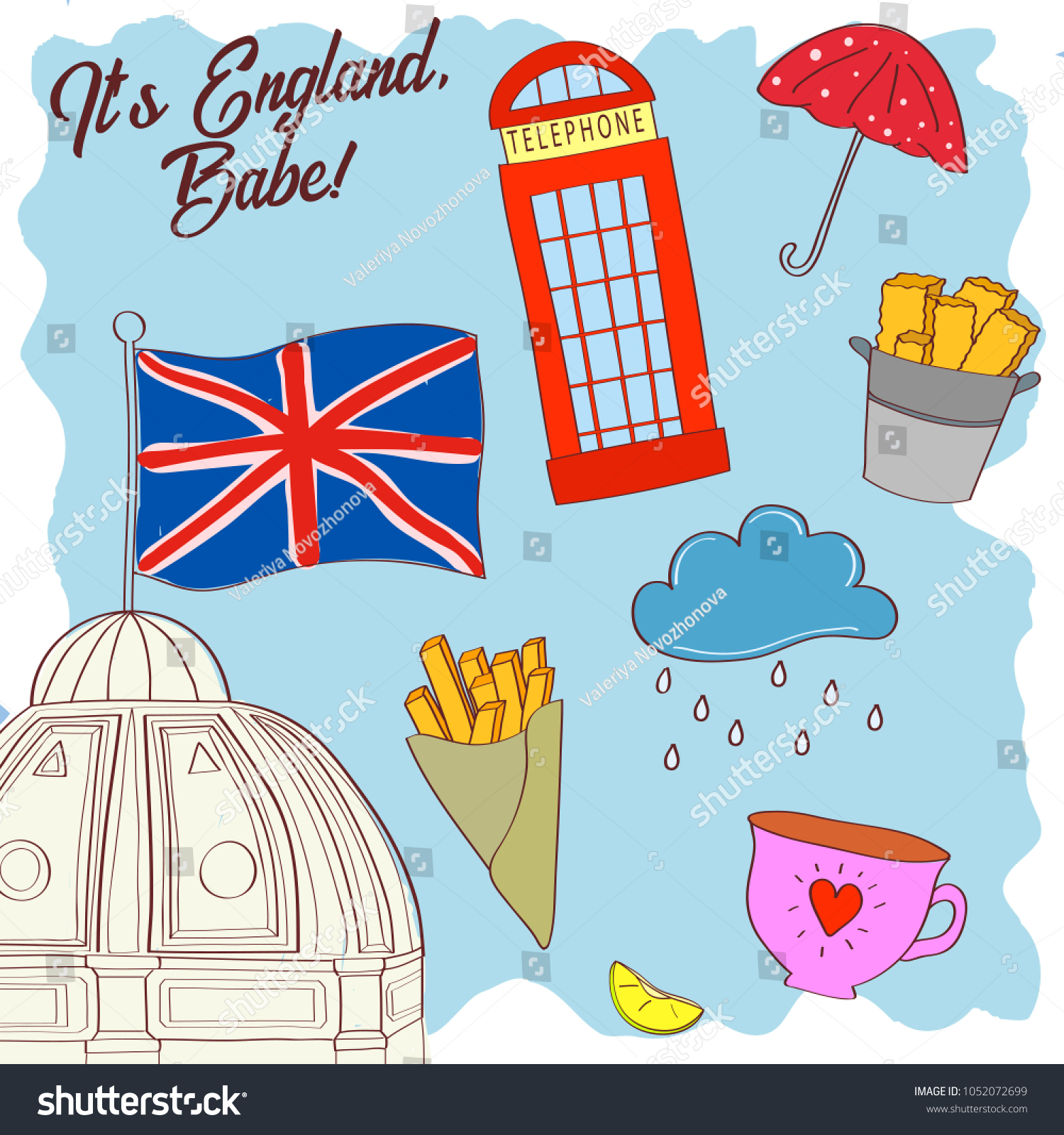 Welcome England Country Banner Hand Drawn Stock Vector HD (Royalty ...