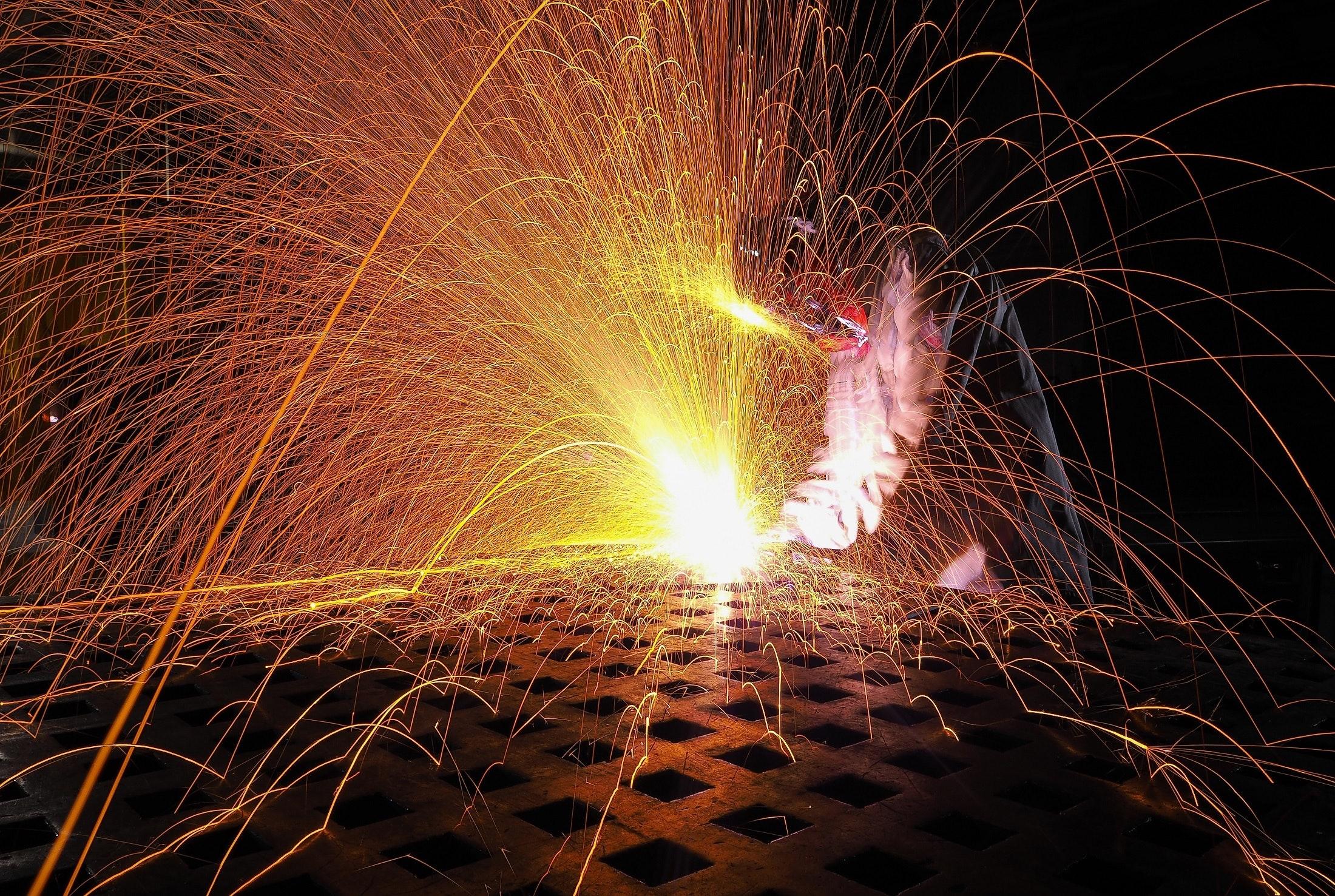 Welding Process, Sparkler, Person, Metal, Sparkling, HQ Photo