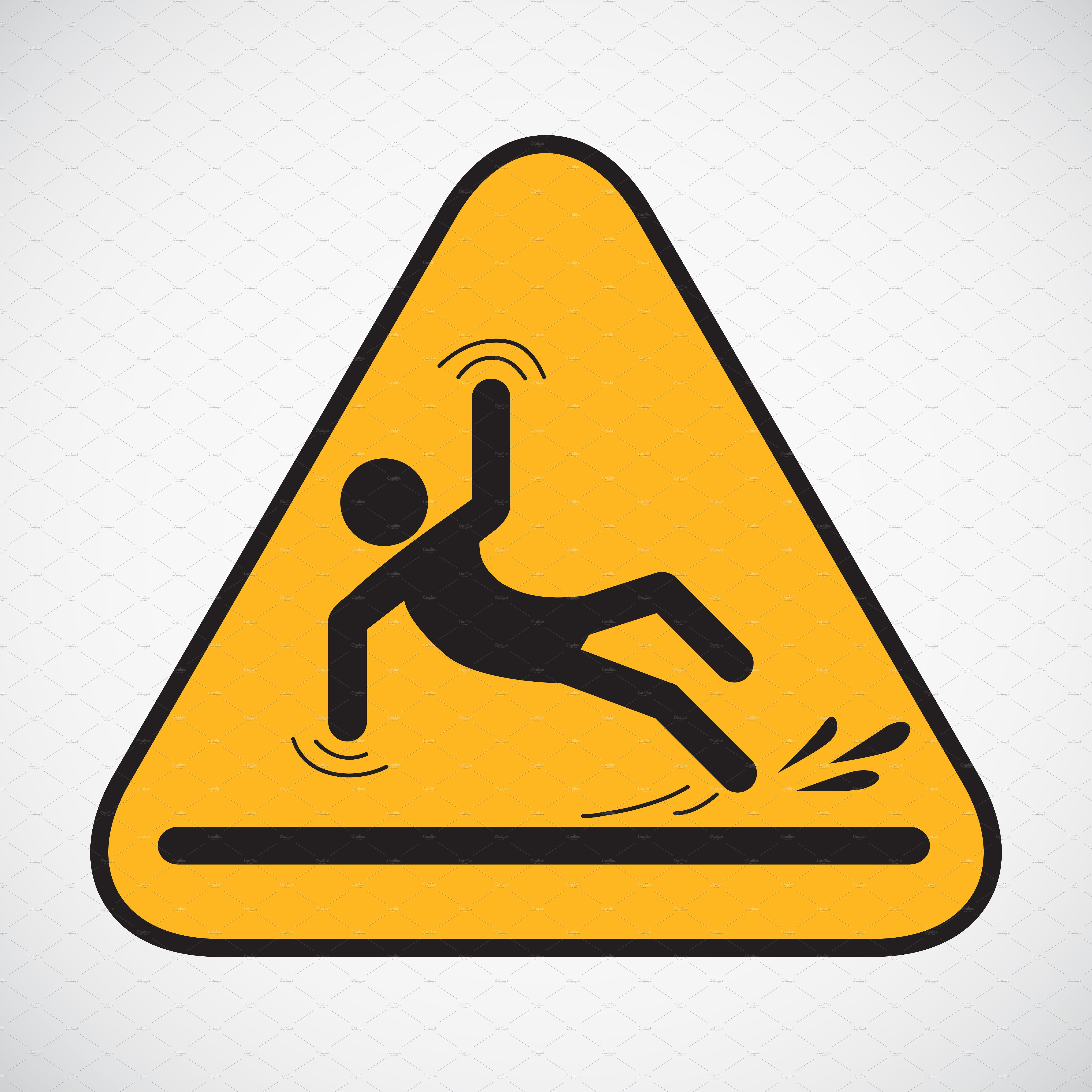 Wet floor caution sign. ~ Illustrations ~ Creative Market