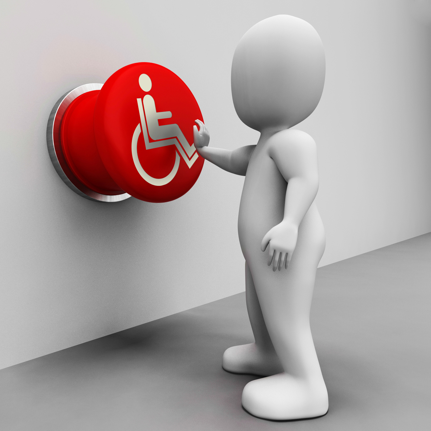 Wheel chair button shows physical disability and immobility photo