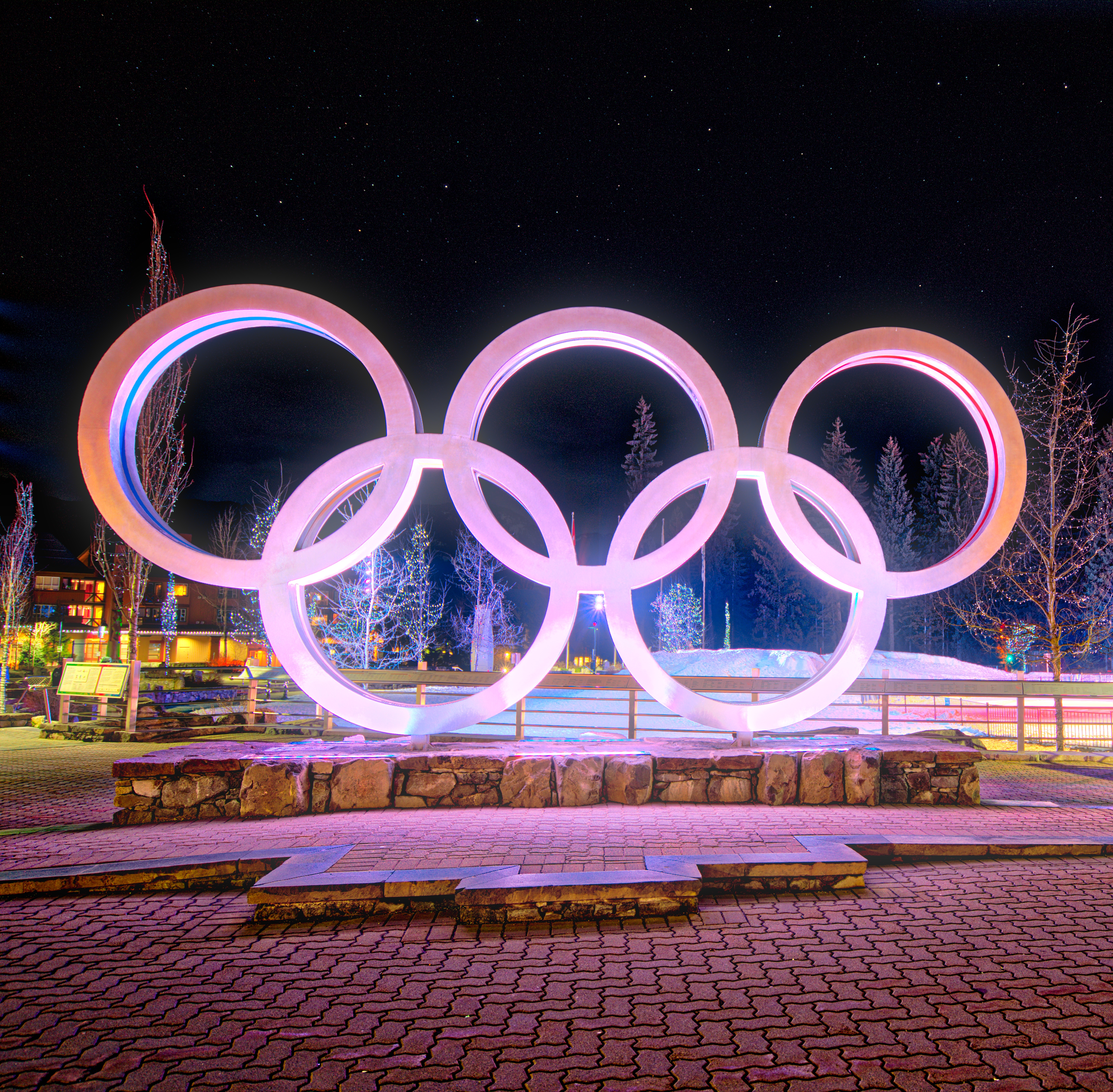 Whistler Olympic Rings, A7r, HDR, Night, Olympic, HQ Photo