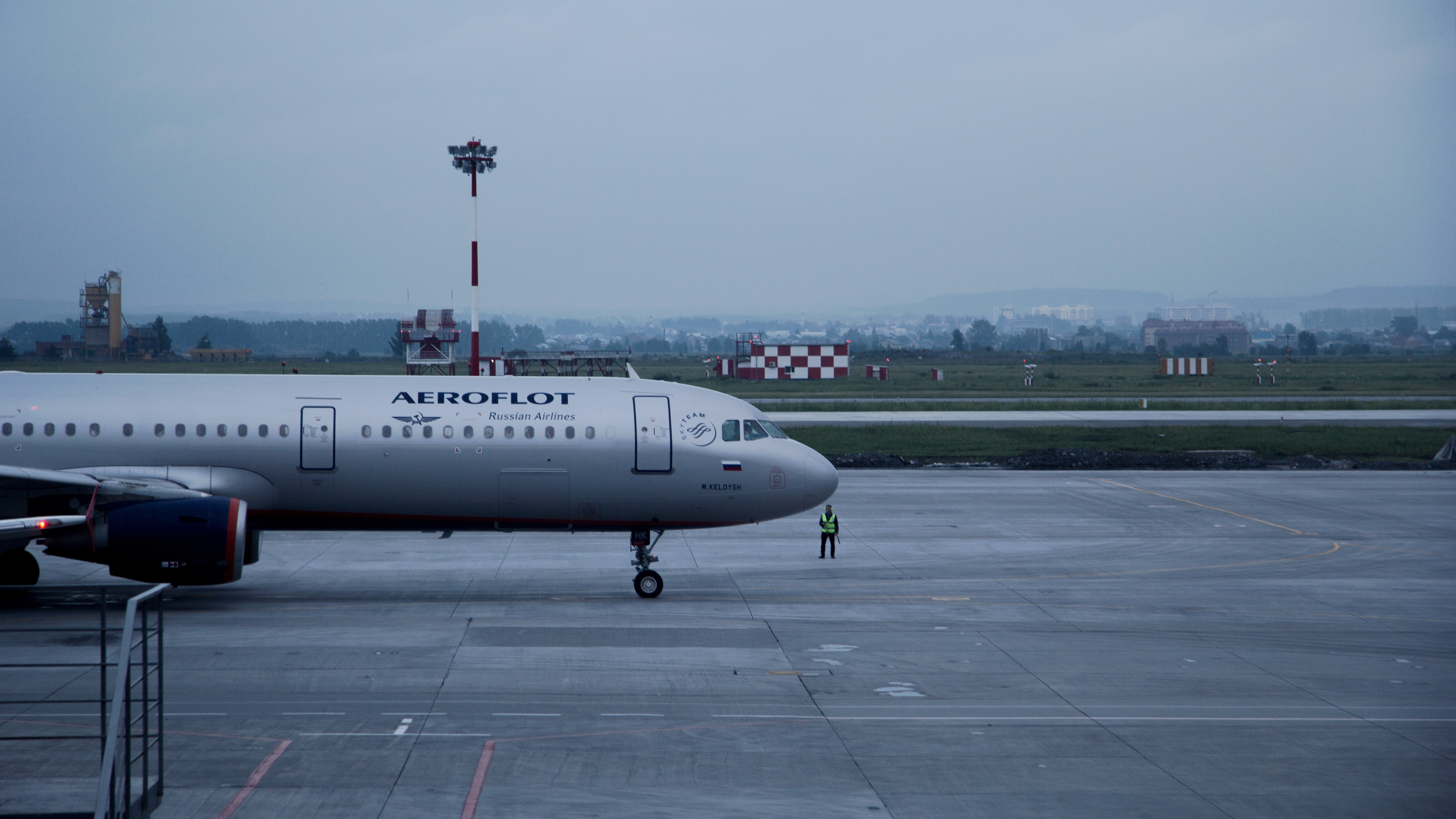 White aeroflot passenger plane on airport photo