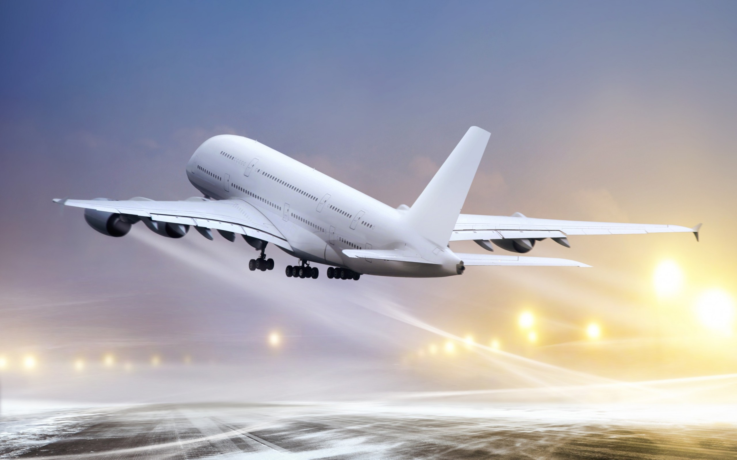 White Airplane Taking Off widescreen wallpaper | Wide-Wallpapers.NET