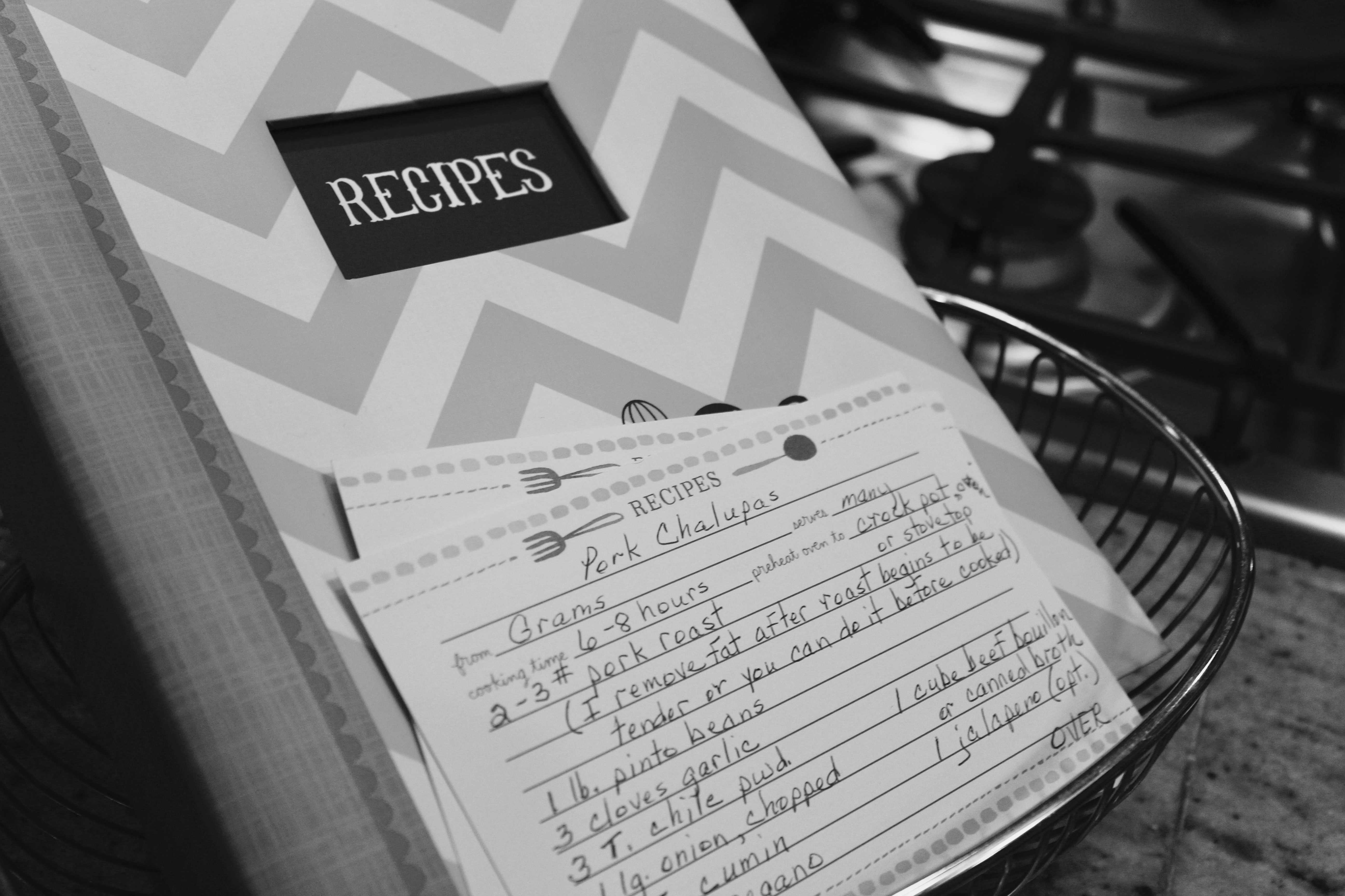 White and gray chevron print recipes book photo