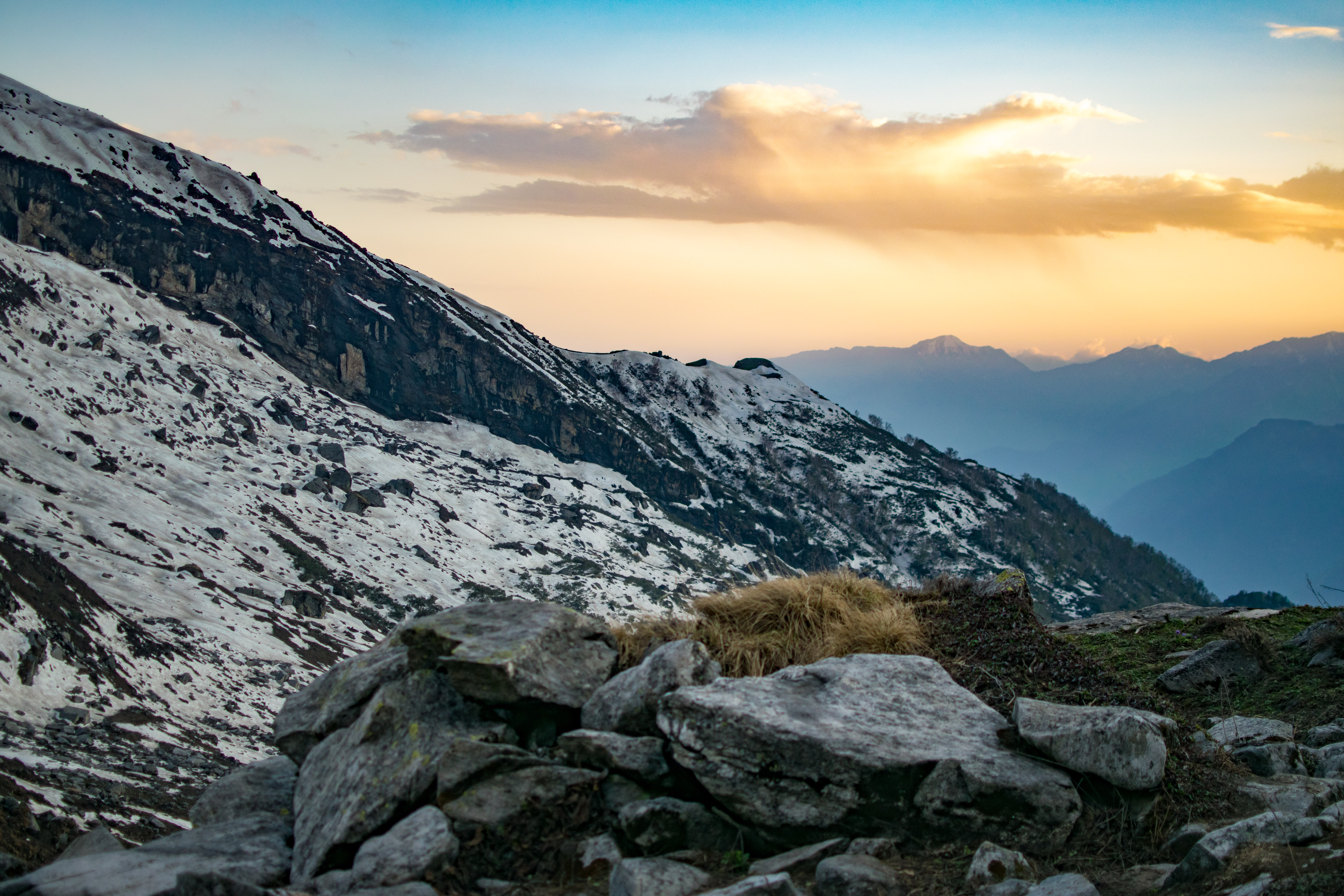 White and Gray Mountains, Nature, Winter, Wide angle photography, Sunset, HQ Photo