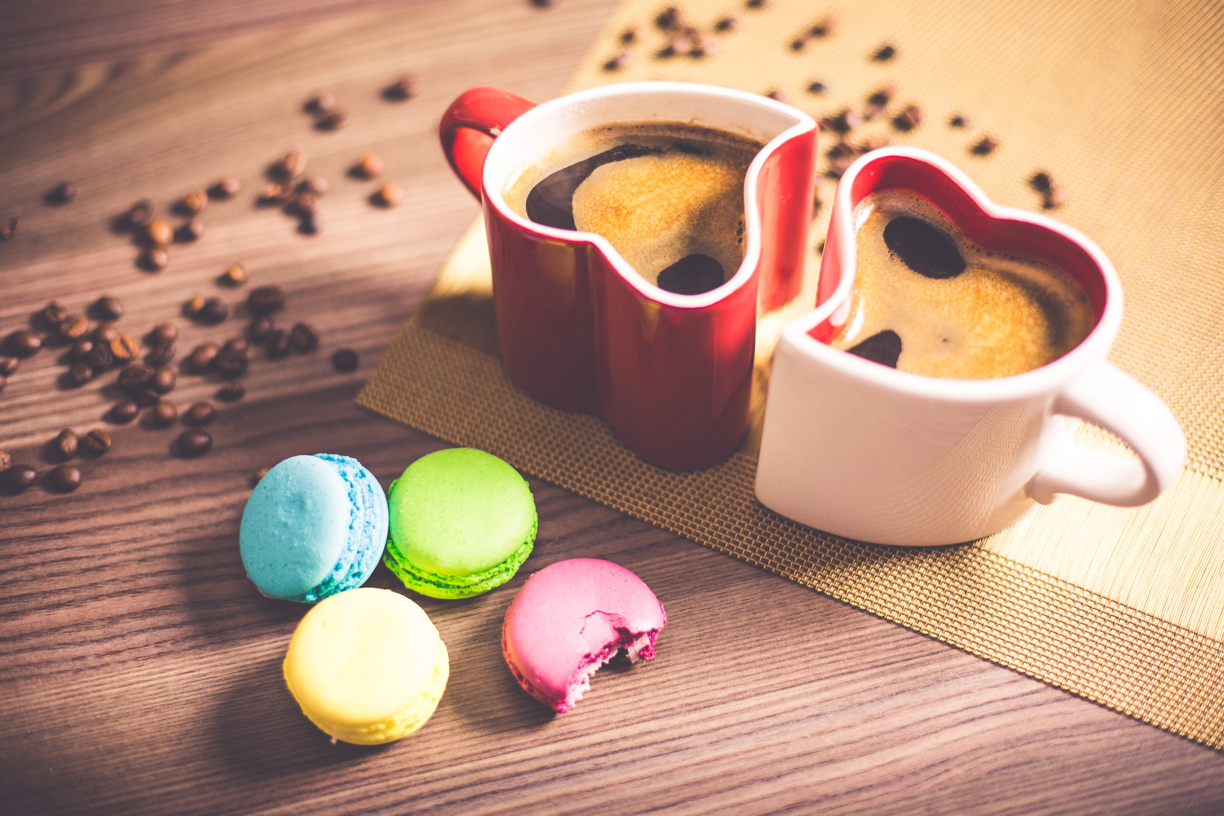 White and Red Couple Heart Mug Filled With Coffee And Macaroons, Black coffee, Food, Table, Sweets, HQ Photo