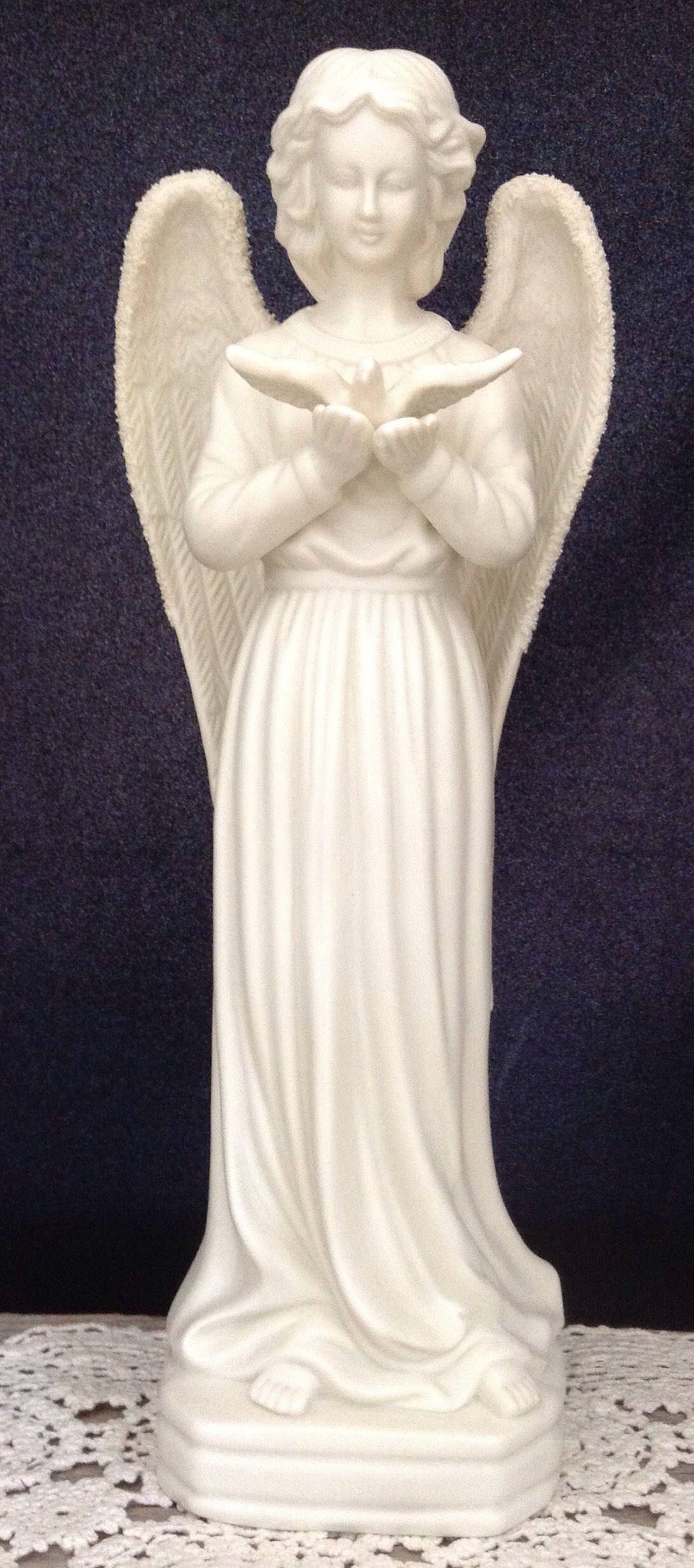 Bisque Angel Figurine Angel Candle Holder Angel with Bird Garden ...