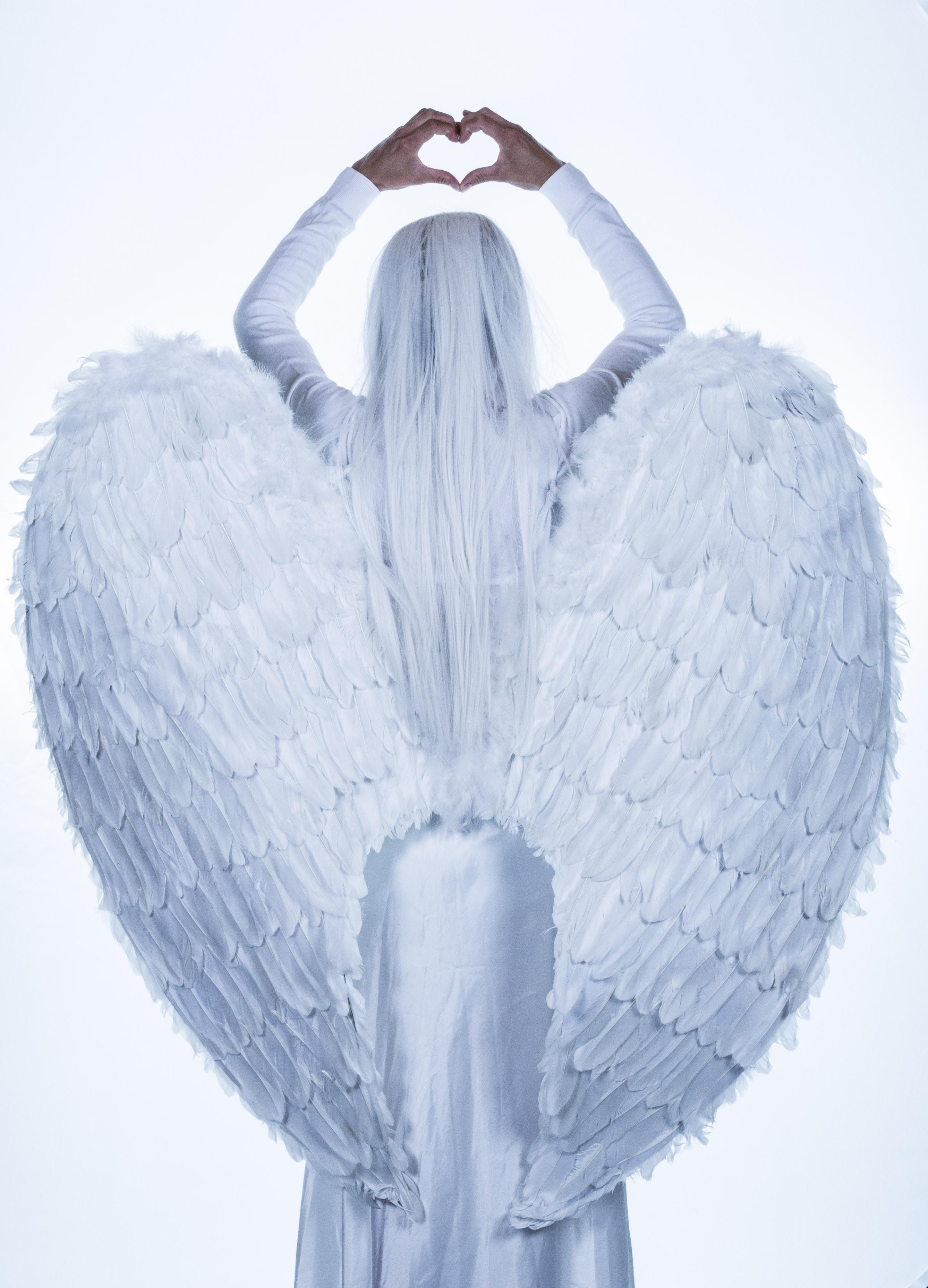 White Angel Illustration, Angel, Art, Costume, Facing away, HQ Photo