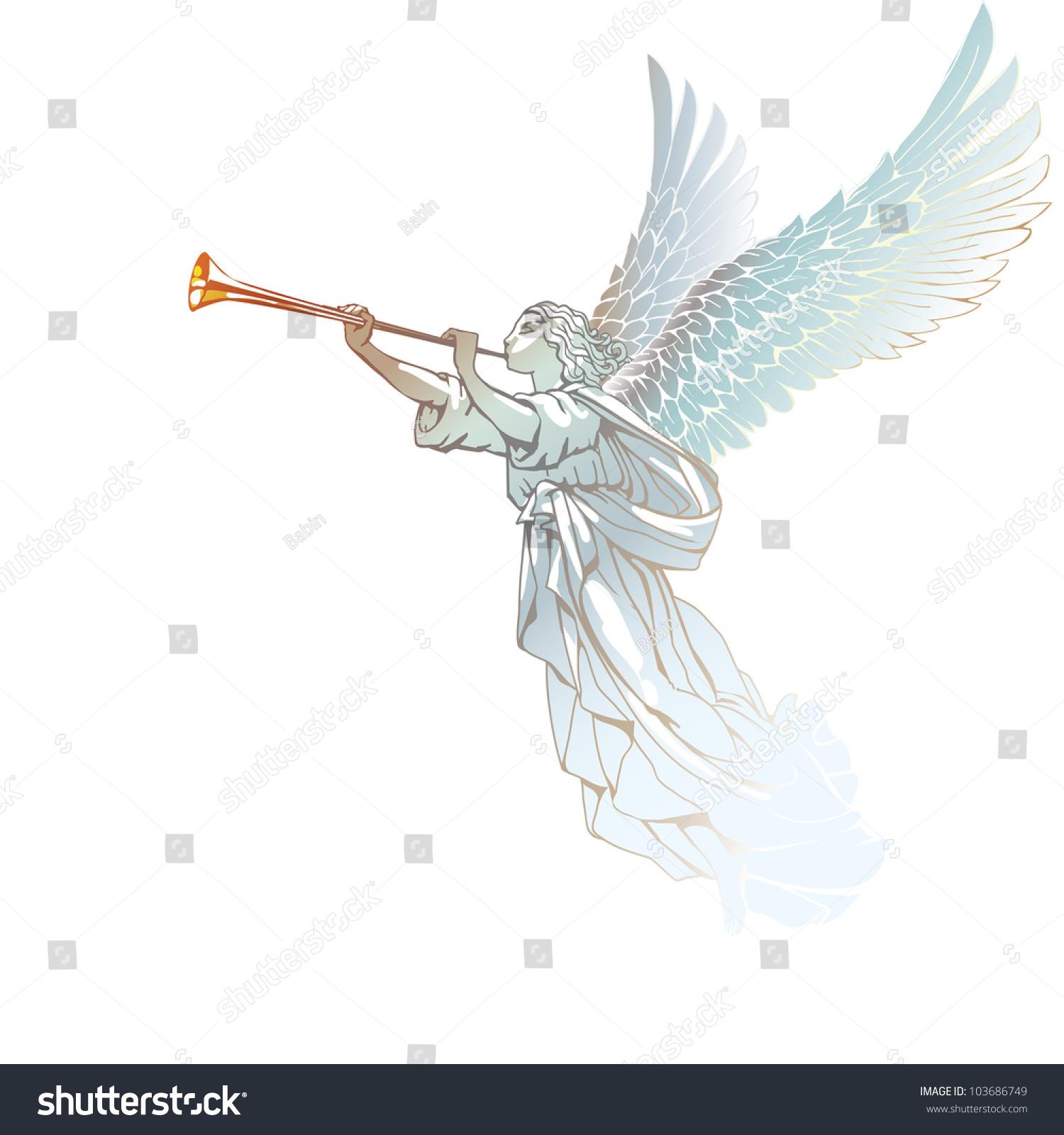 Raster Version Vector White Angel Trumpet Stock Illustration ...