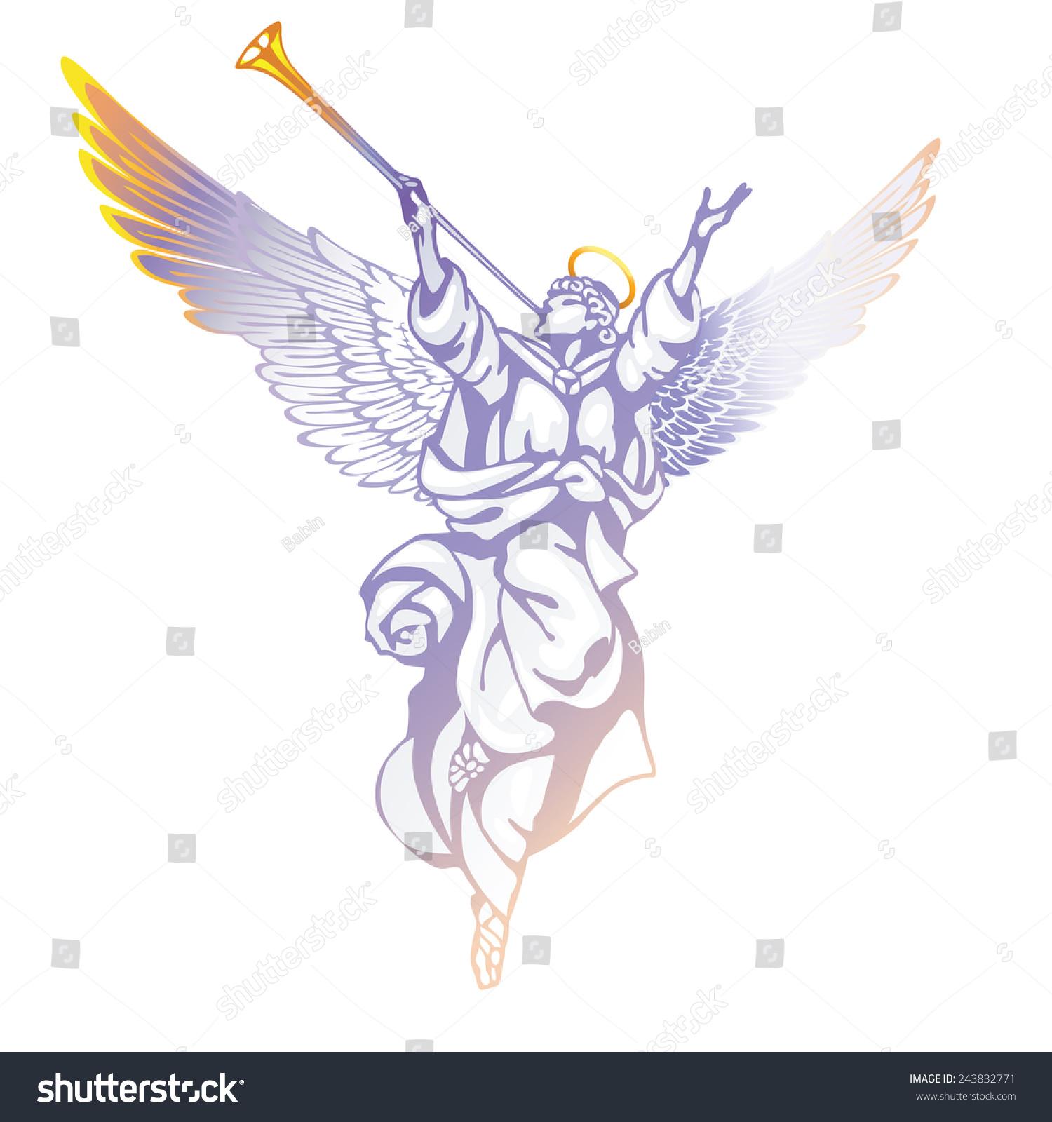 Raster Version White Angel Trumpet Raised Stock Illustration ...