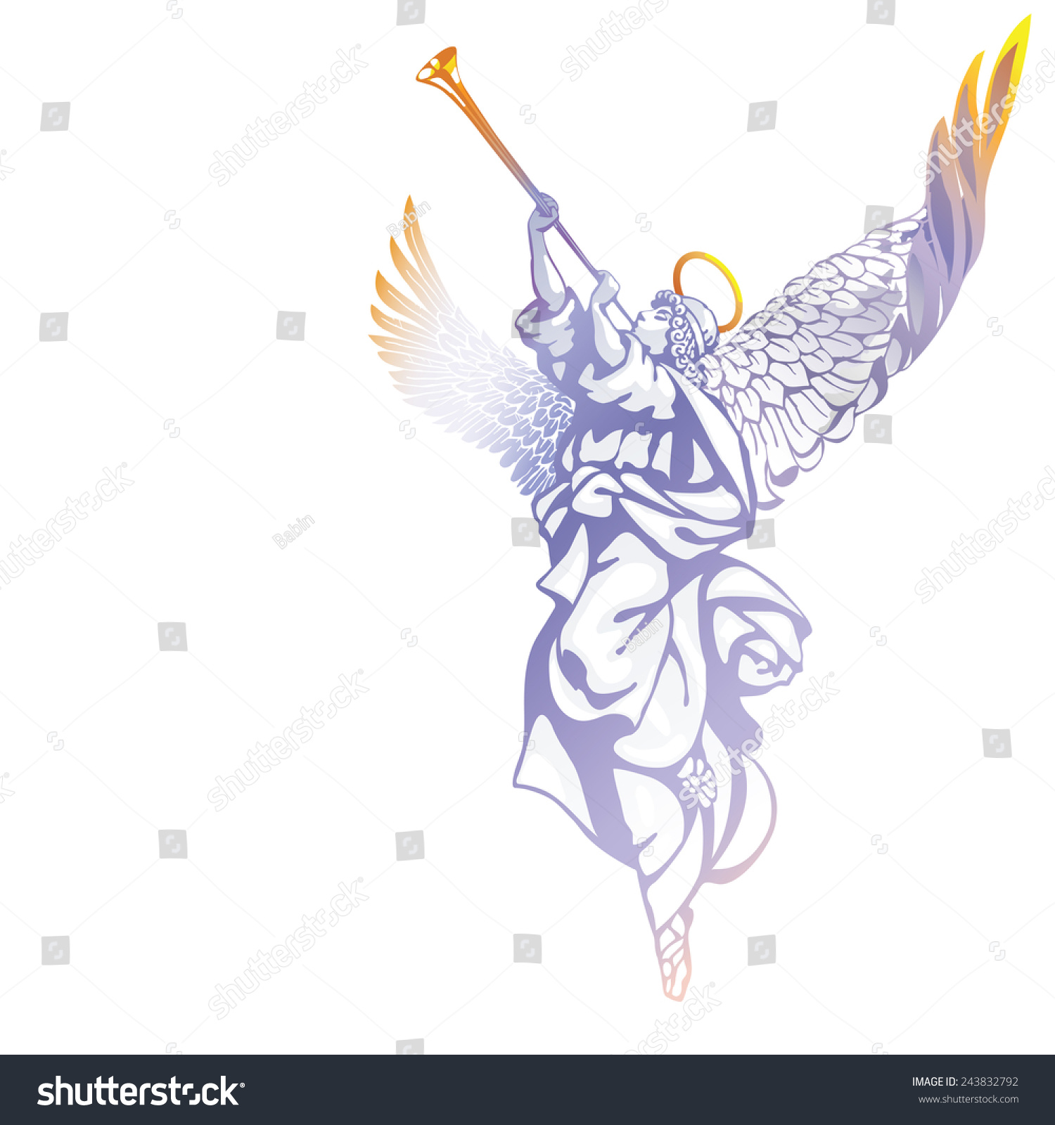 Raster Version White Angel Trumpet Looking Stock Illustration ...