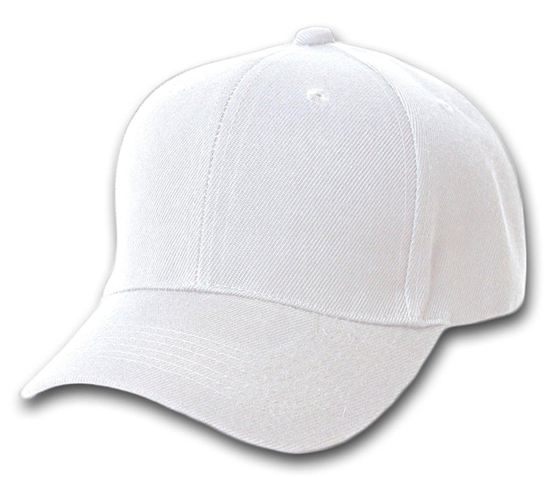 Blank / Plain Adjustable Velcro Baseball Cap / Hat - White at Amazon ...