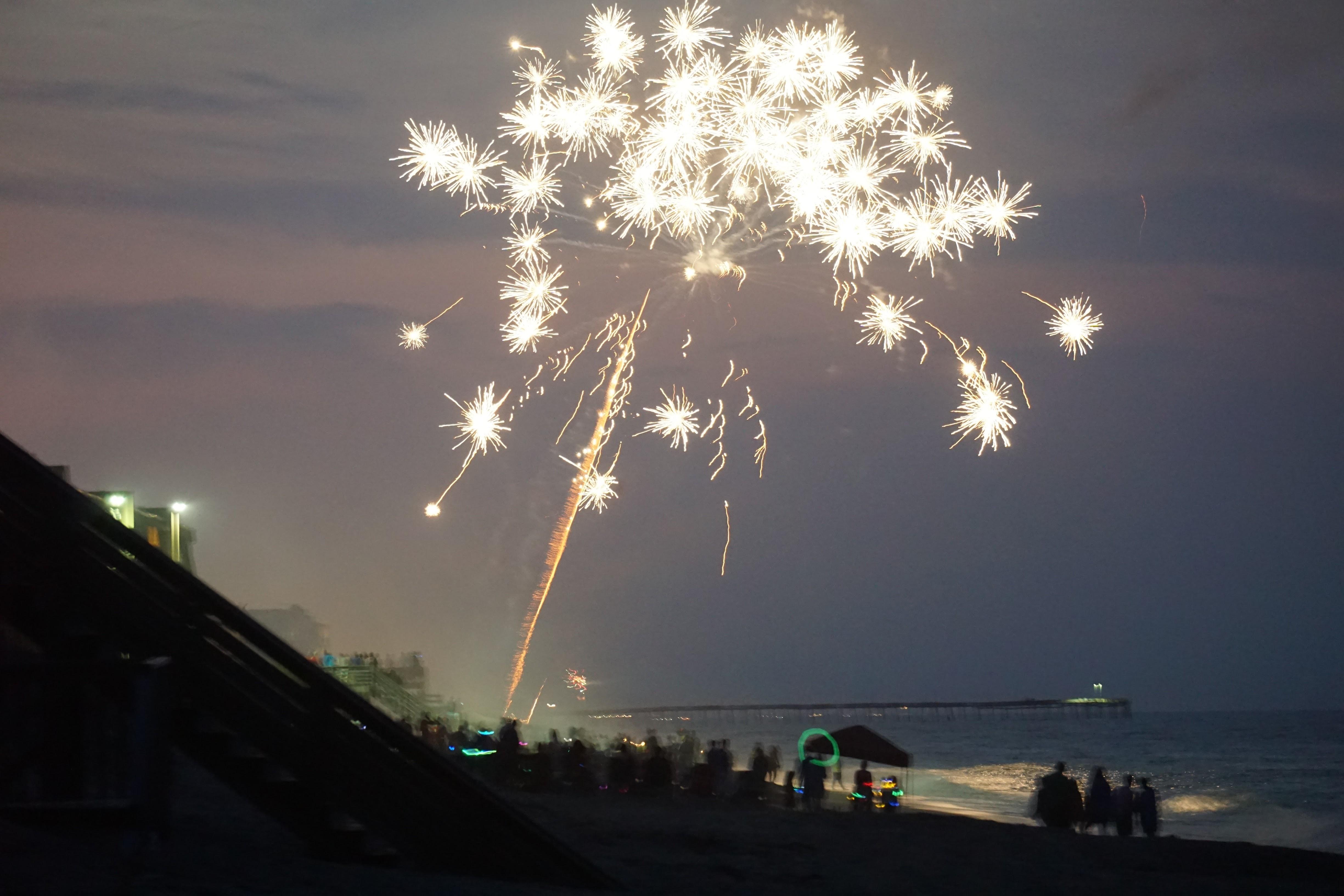 White Beach Fireworks, Beach, Bright, Celebrate, Fire, HQ Photo