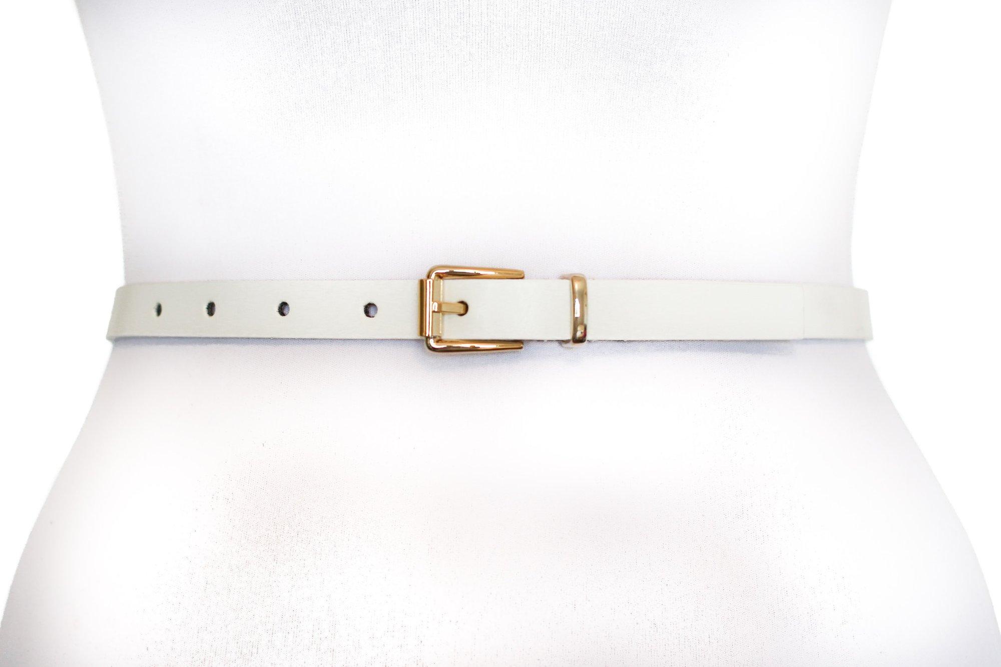 White Skinny Waist Belt 1/2