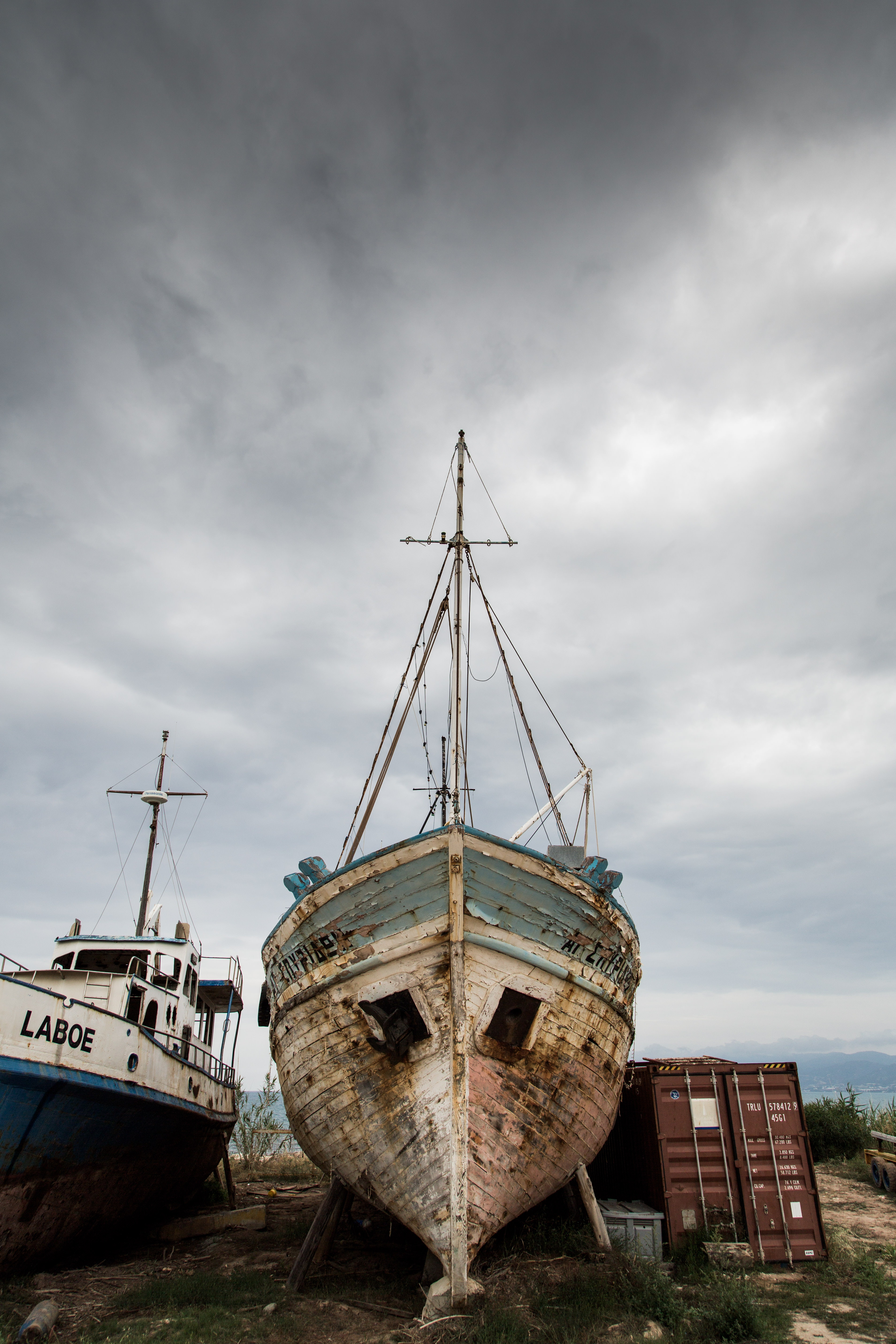 White Blue Boat, Abandoned, Rust, Wooden, Vintage, HQ Photo
