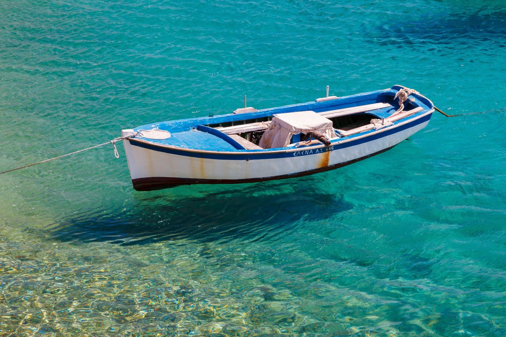 White blue boat photo