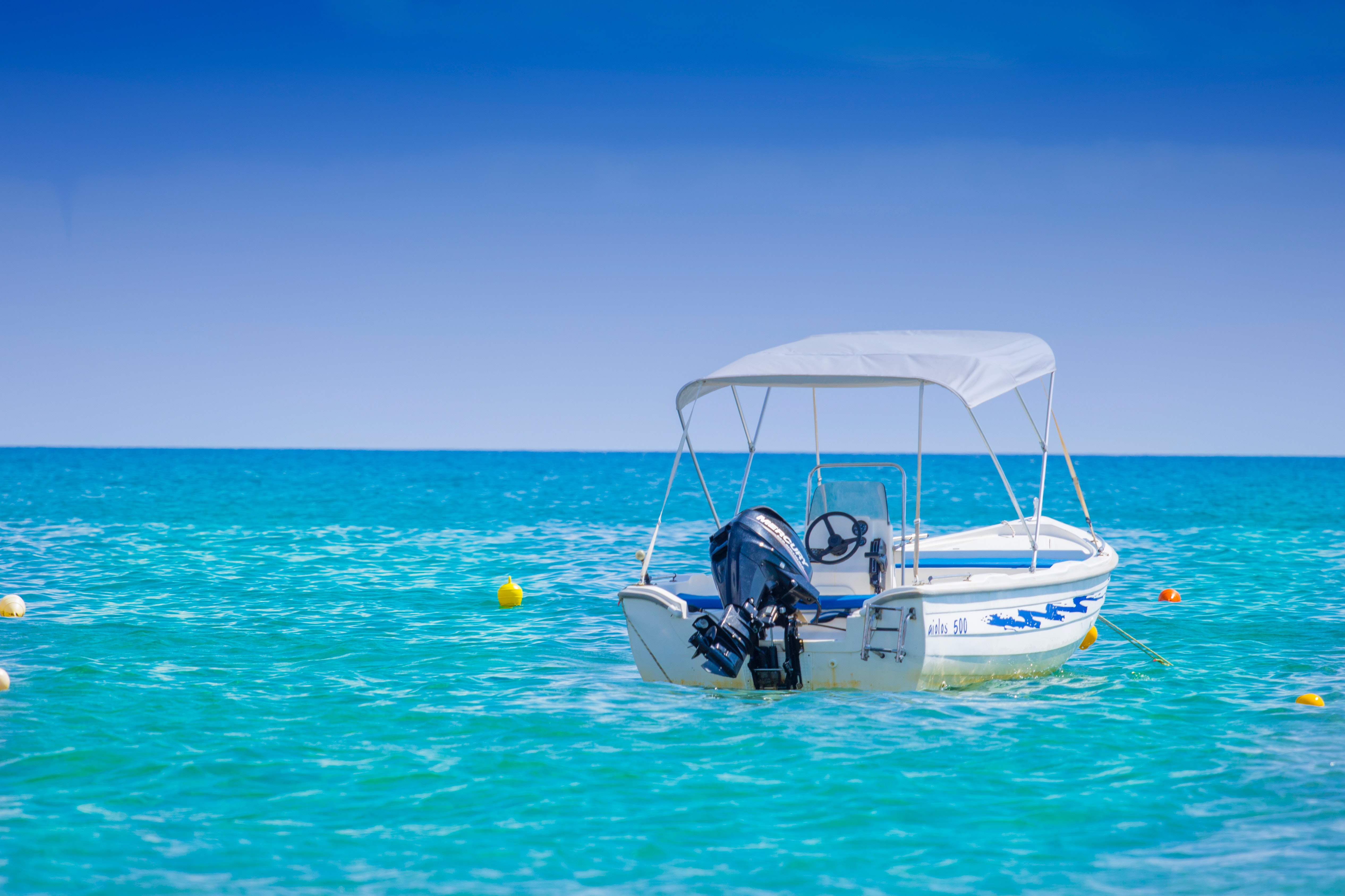 White Bow Rider Parked on the Body of Water, Beach, Sea, Water, Vacation, HQ Photo