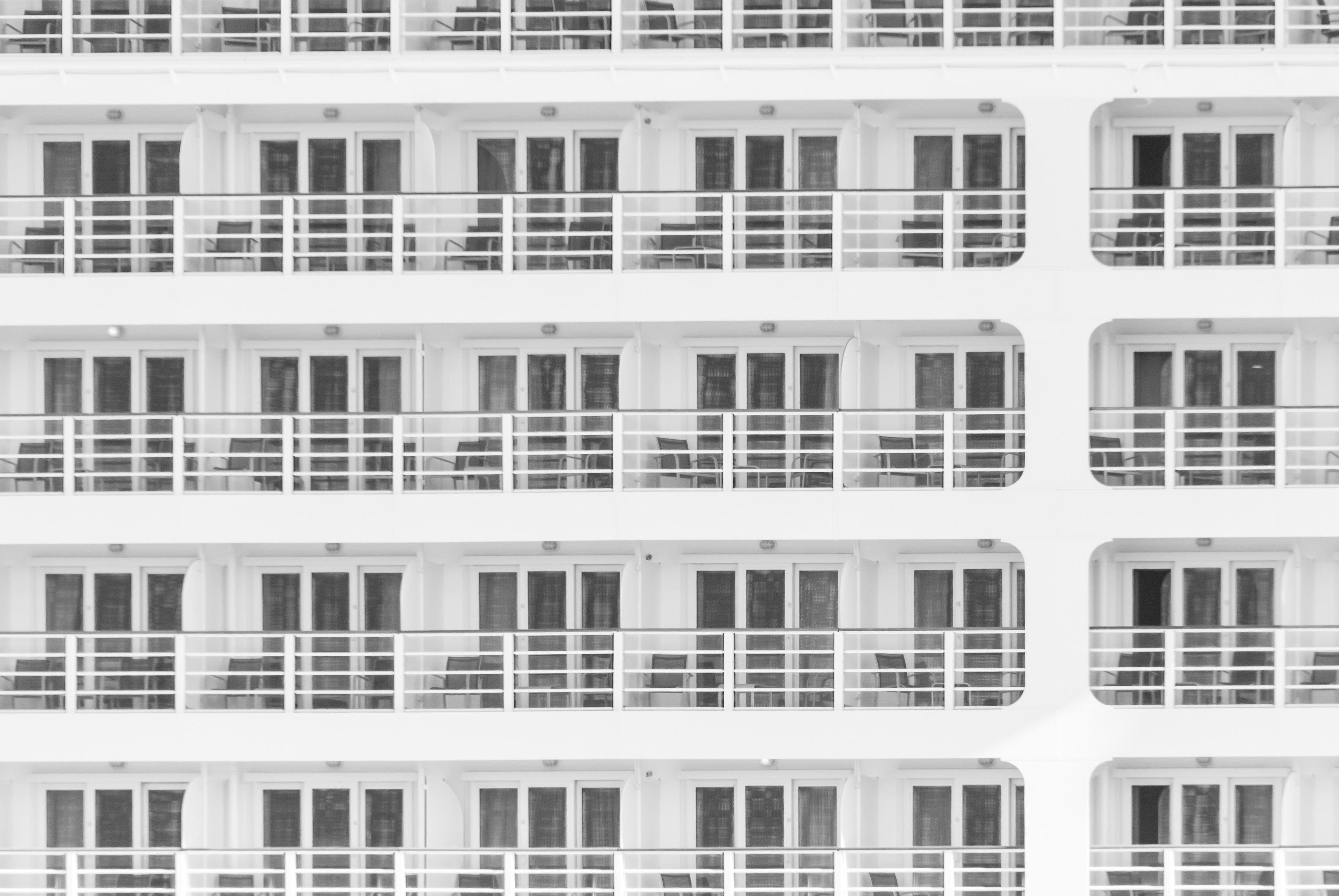 White Building, Balcony, Building, City, Concrete, HQ Photo