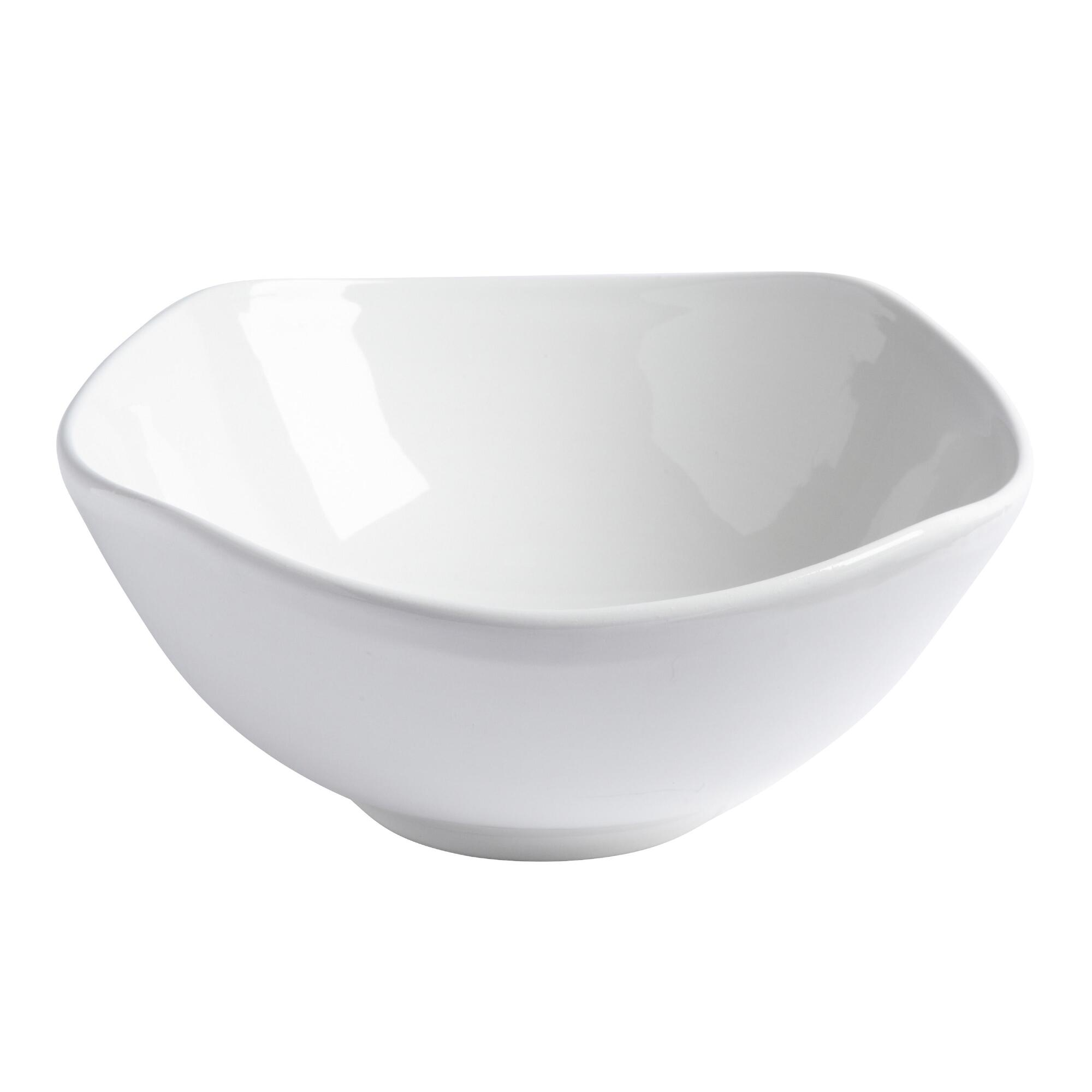 White Ceramic Soft Square Salad Bowl | Christmas Tree Shops andThat!