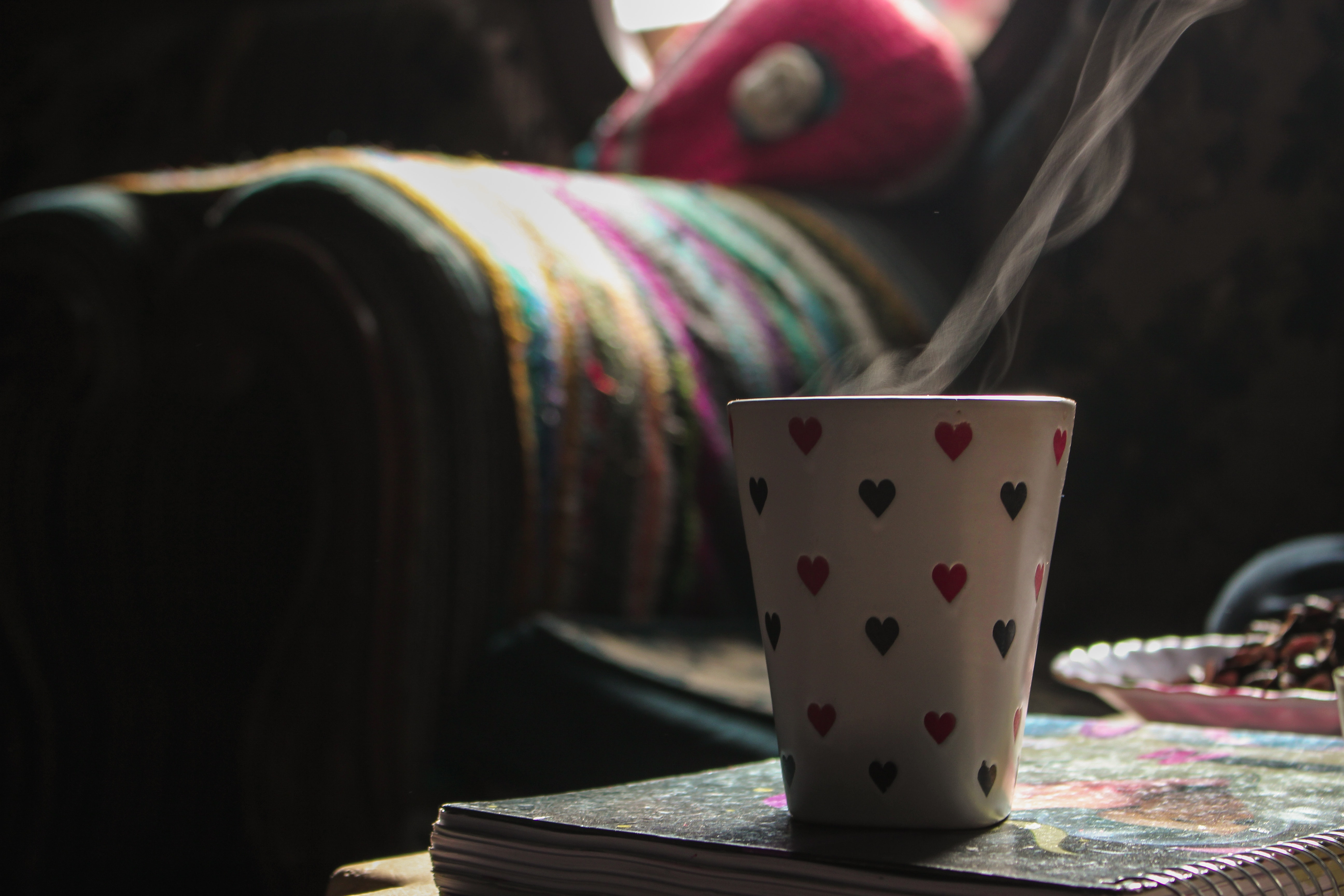 White Ceramic Cup on Book, Blur, Close-up, Coffee cup, Colors, HQ Photo
