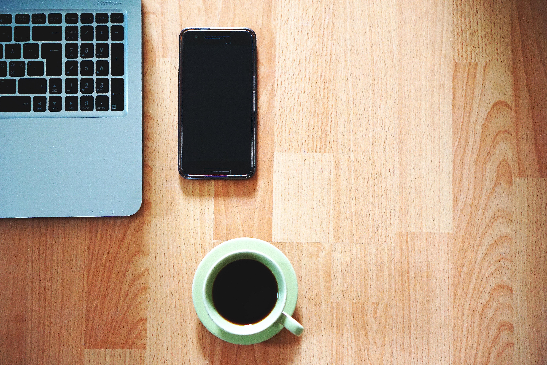 White Ceramic Mug Near Black Smartphone, Coffee, Computer, Cup, Desk, HQ Photo