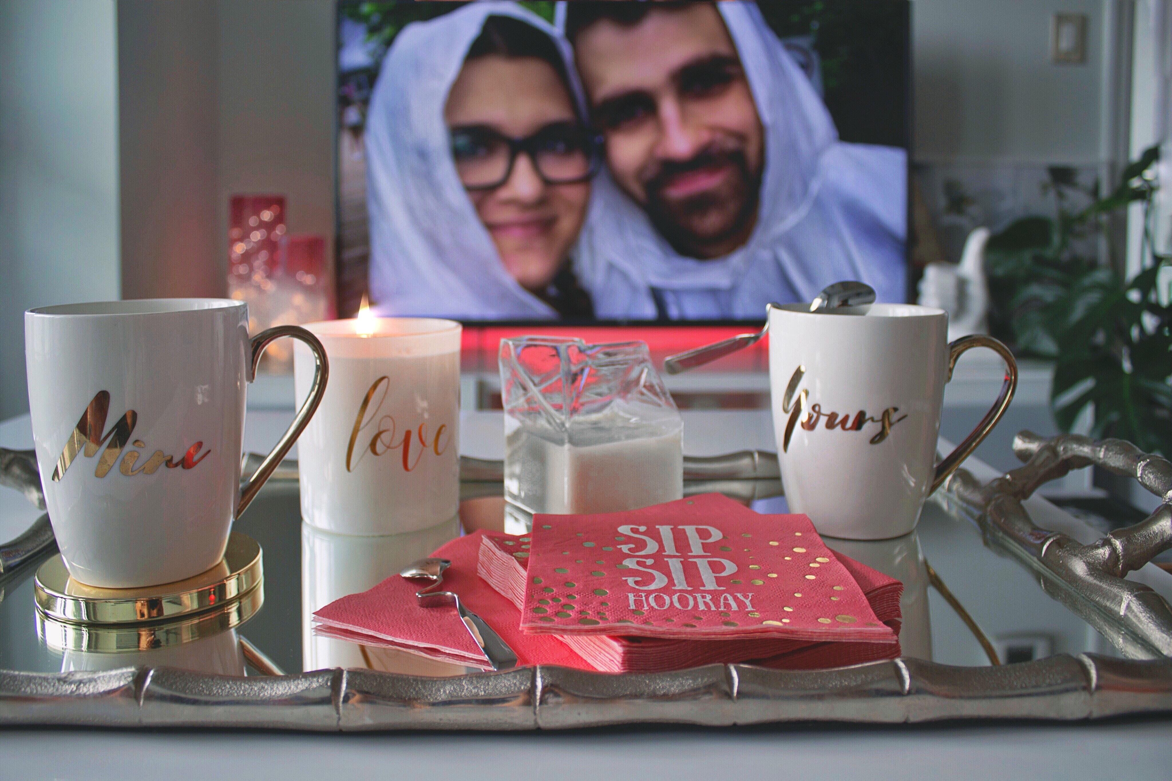 White Ceramic Mugs, Breakfast, Focus, Wife, Tray, HQ Photo