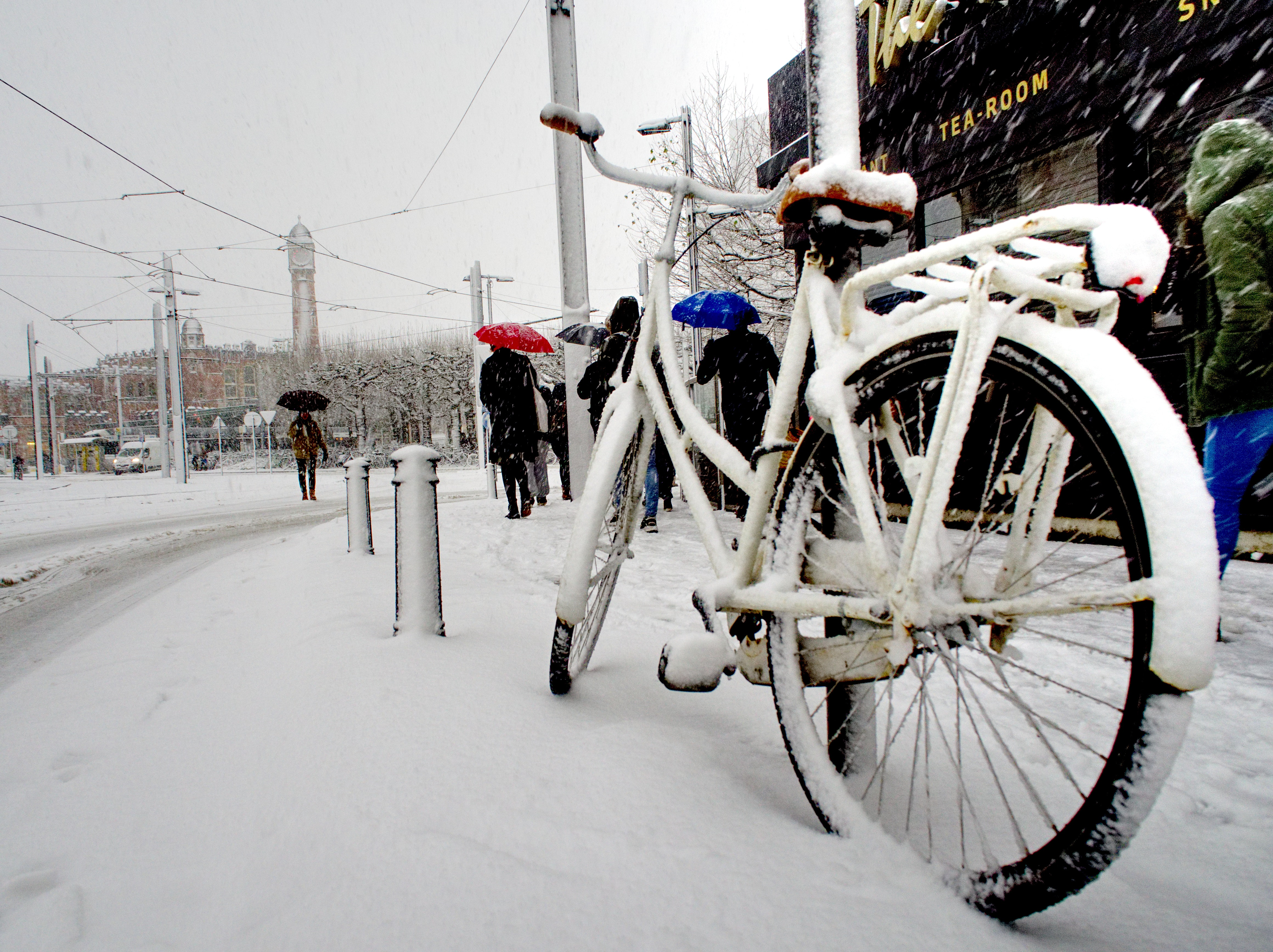 White city bike cover with snow photo