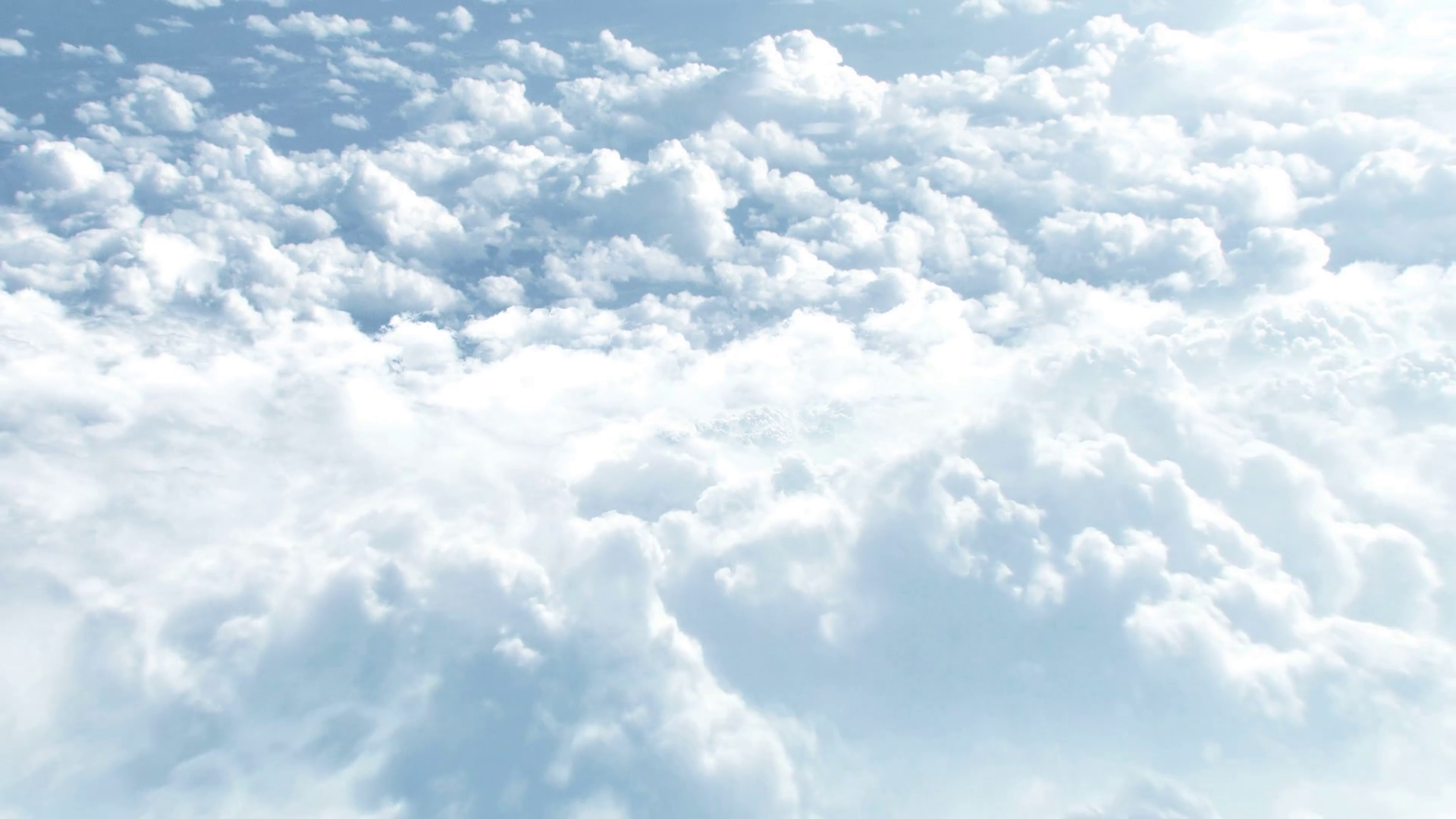CGI 3D animation of flying through big white clouds high in sky ...