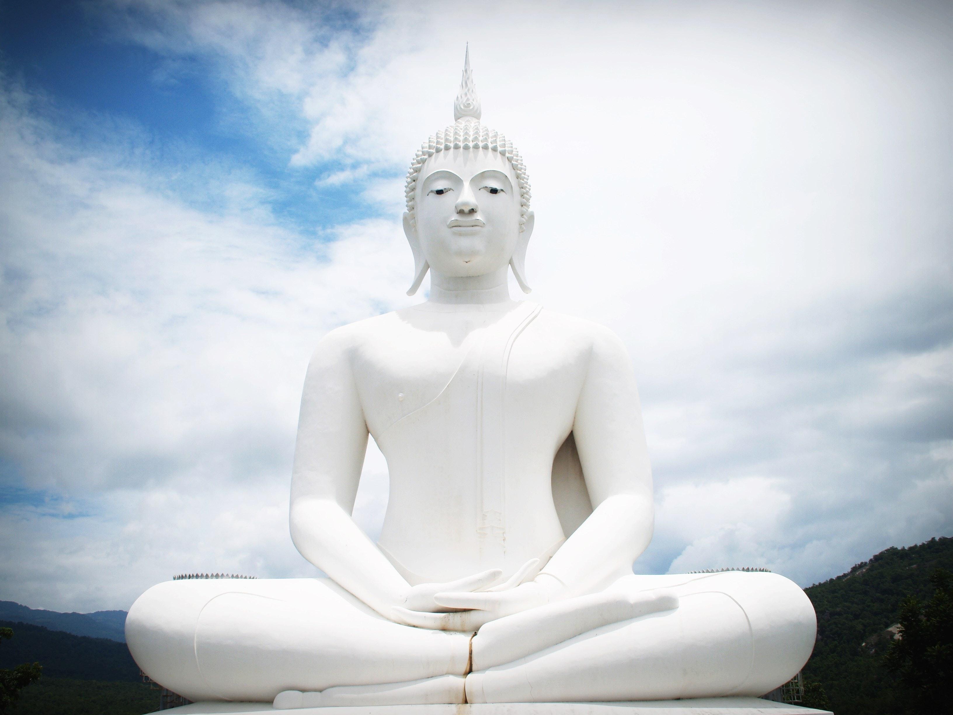 White Concrete Buddha Statue, Ancient, Serenity, Pray, Prayer, HQ Photo