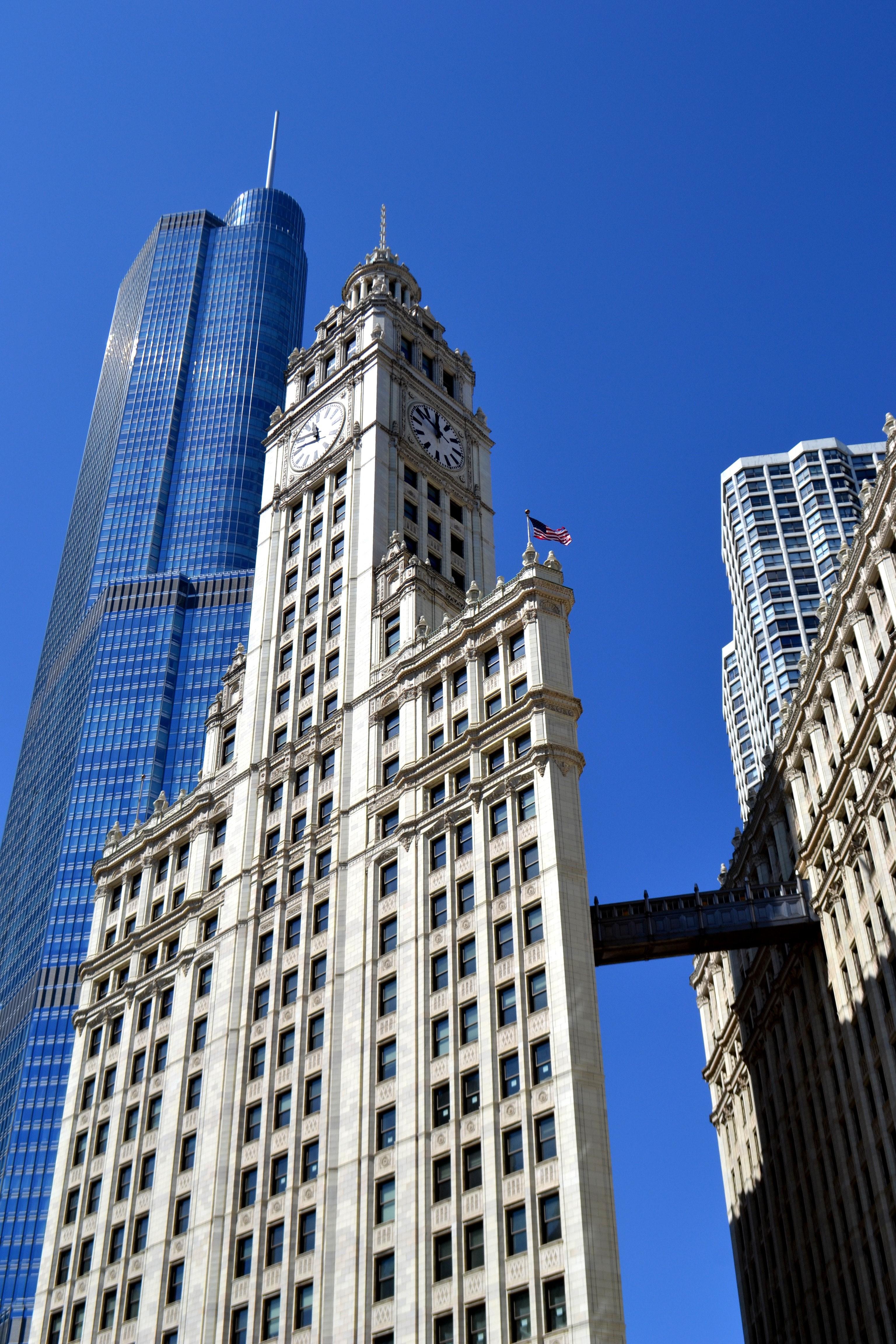White Concrete Building on Daytime, Architecture, Buildings, City, Clock, HQ Photo