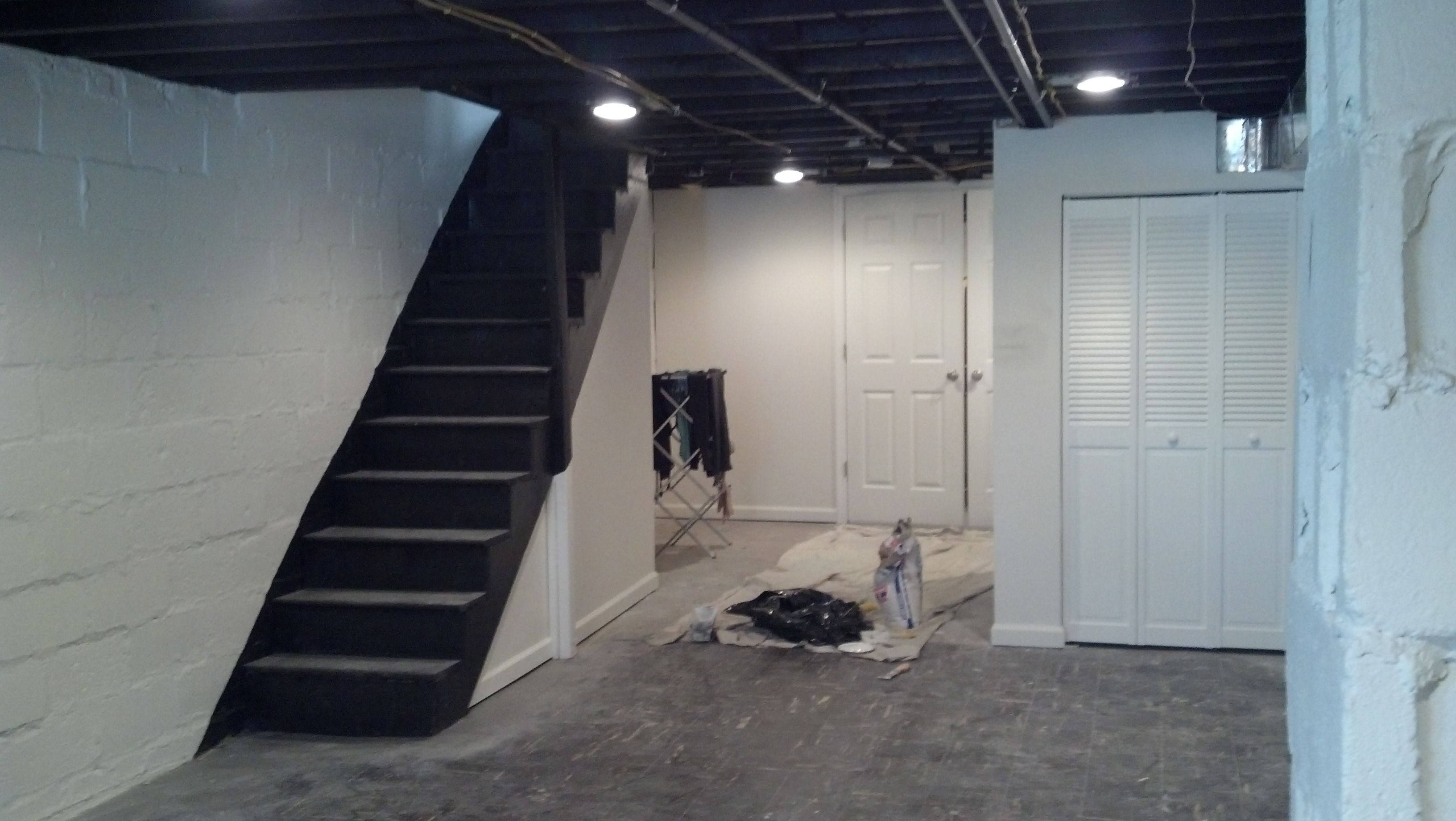 Makeover Basement Painted With White Wall Interior Color Decor ...