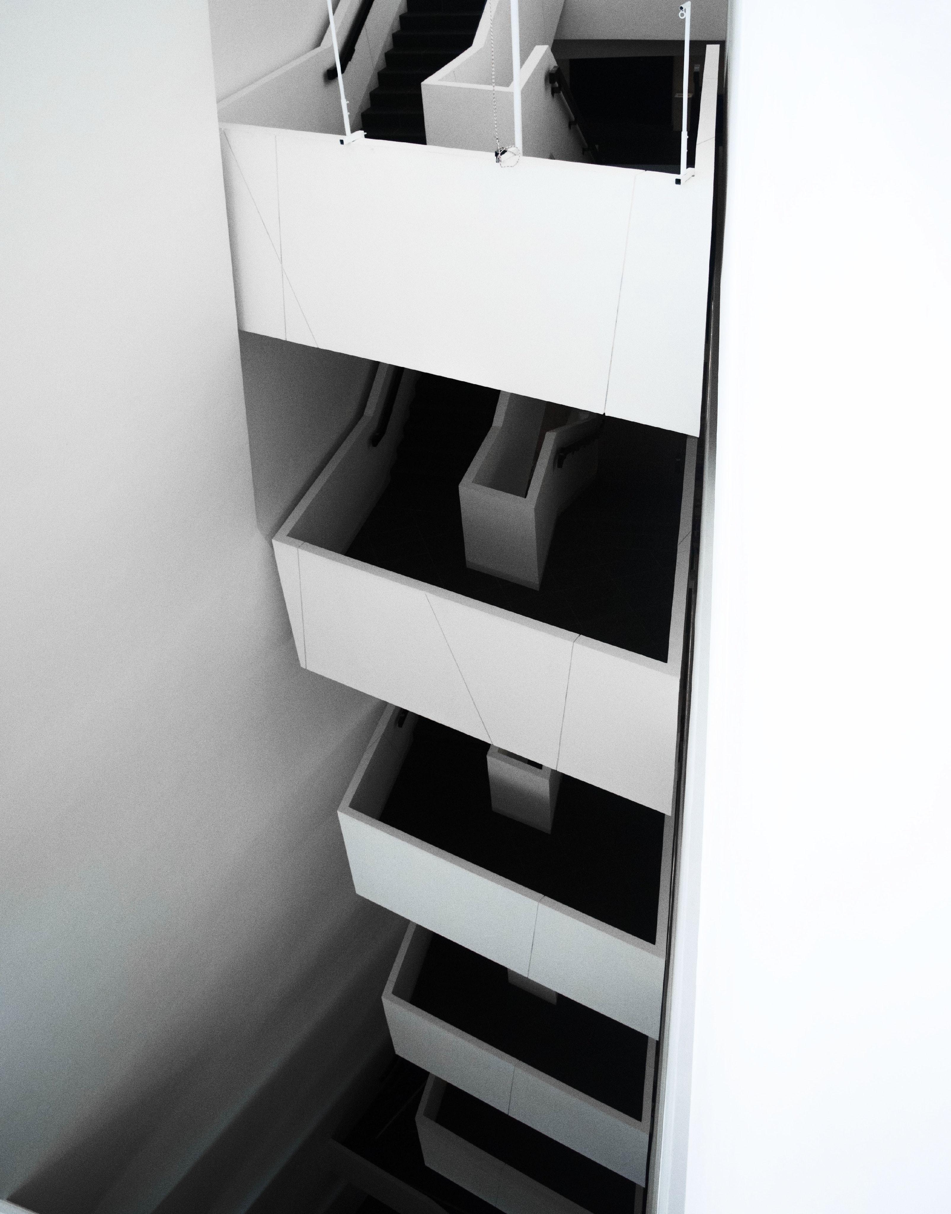 White Concrete Staircase, Architecture, Black and white, Contemporary, Design, HQ Photo
